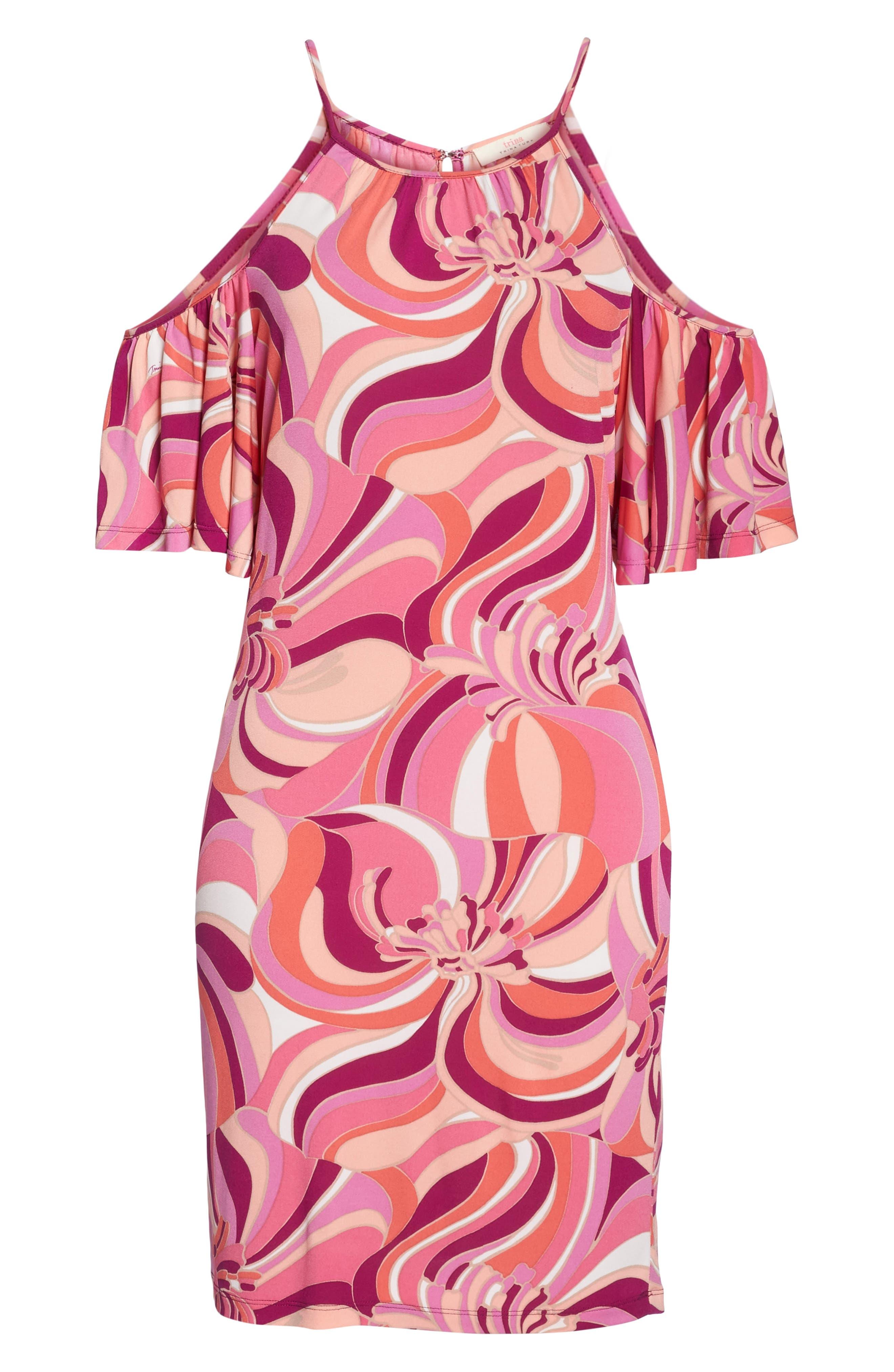 Viola Cold Shoulder Dress,                             Alternate thumbnail 6, color,                             Purple Dahlia