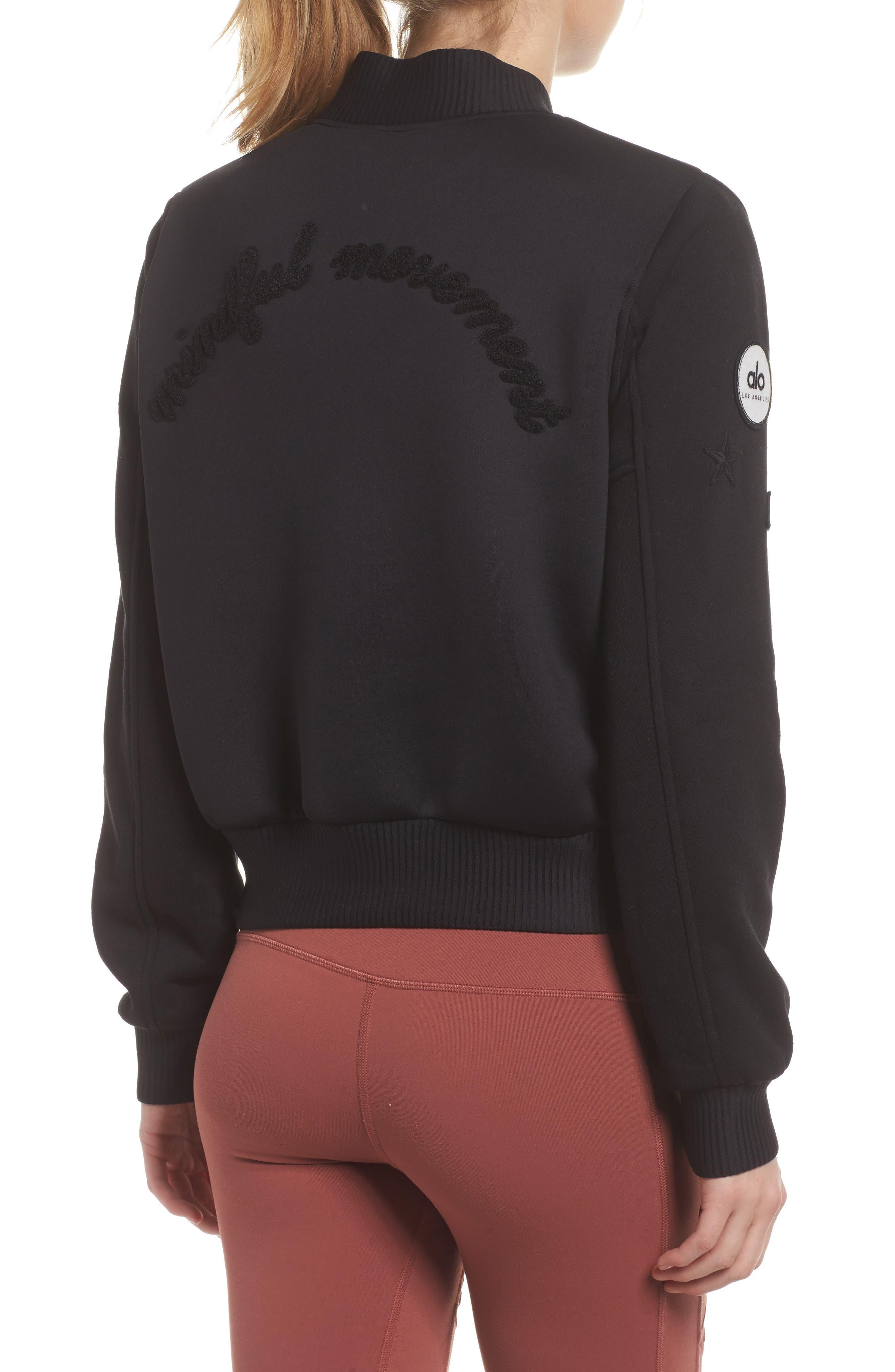 League Varsity Jacket,                             Alternate thumbnail 2, color,                             Black/ Alo Patches