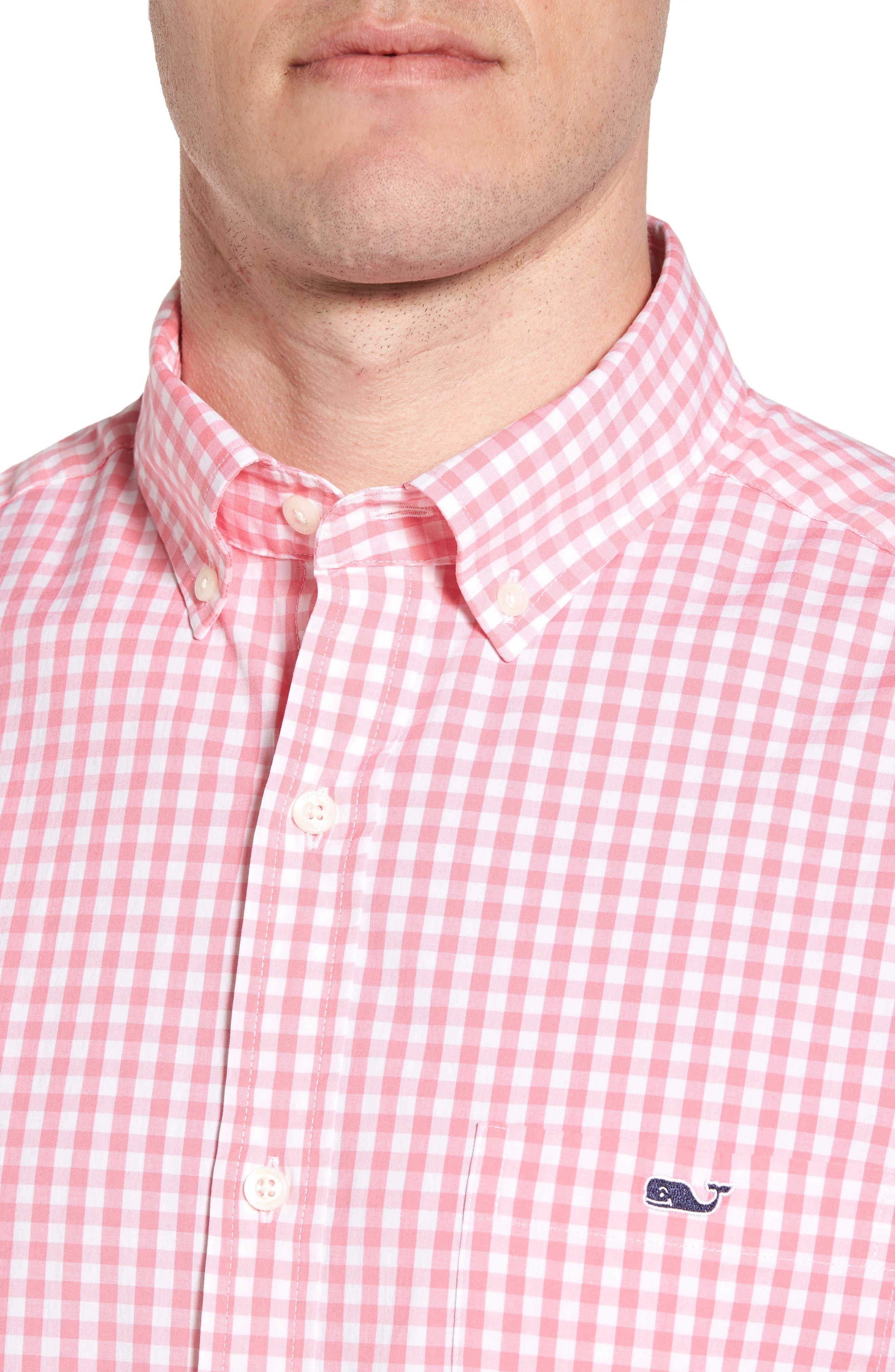 Carleton Classic Fit Gingham Sport Shirt,                             Alternate thumbnail 4, color,                             Bahama Breeze