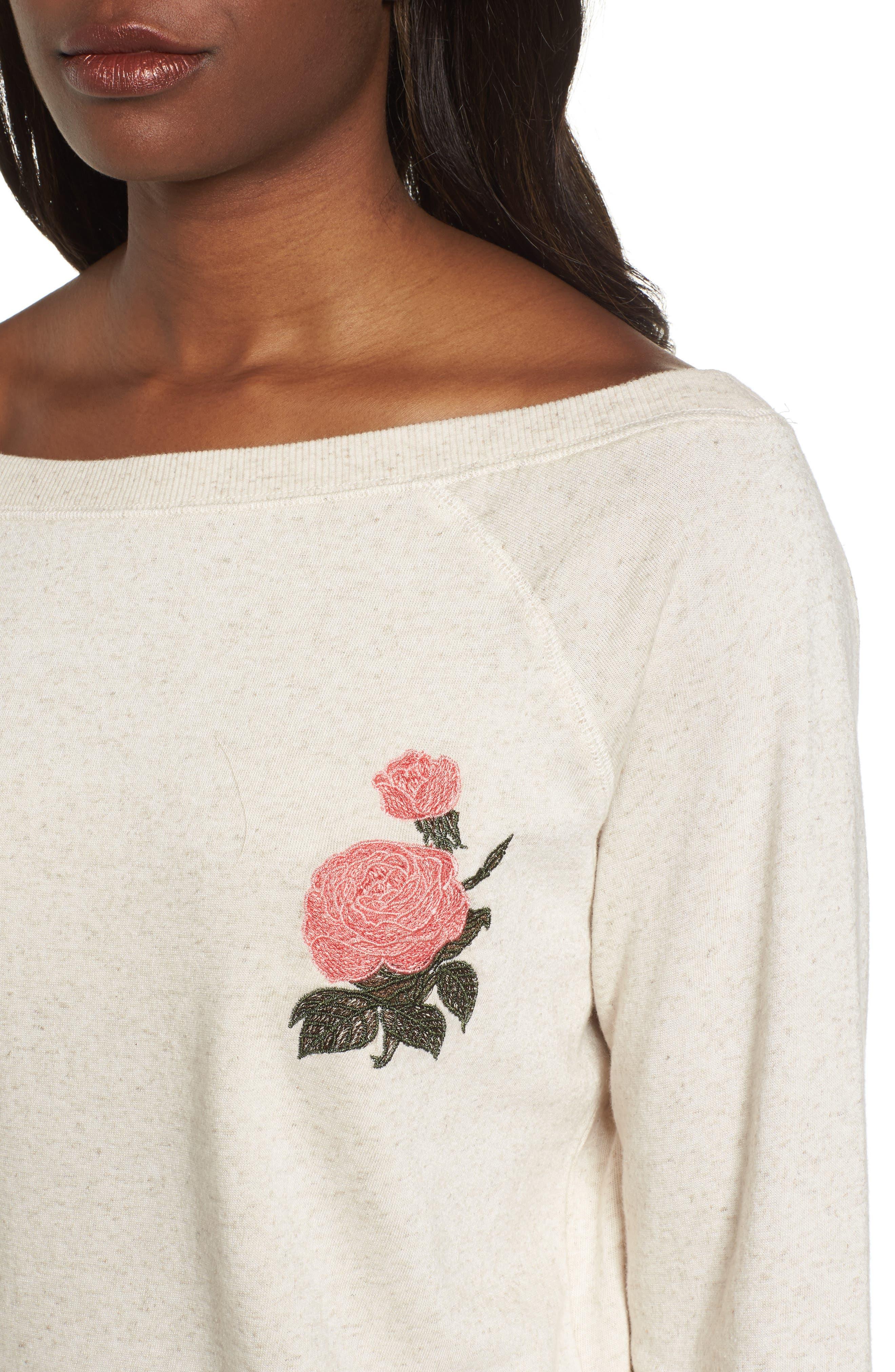 Embroidered Rose Sweatshirt,                             Alternate thumbnail 4, color,                             Natural Multi