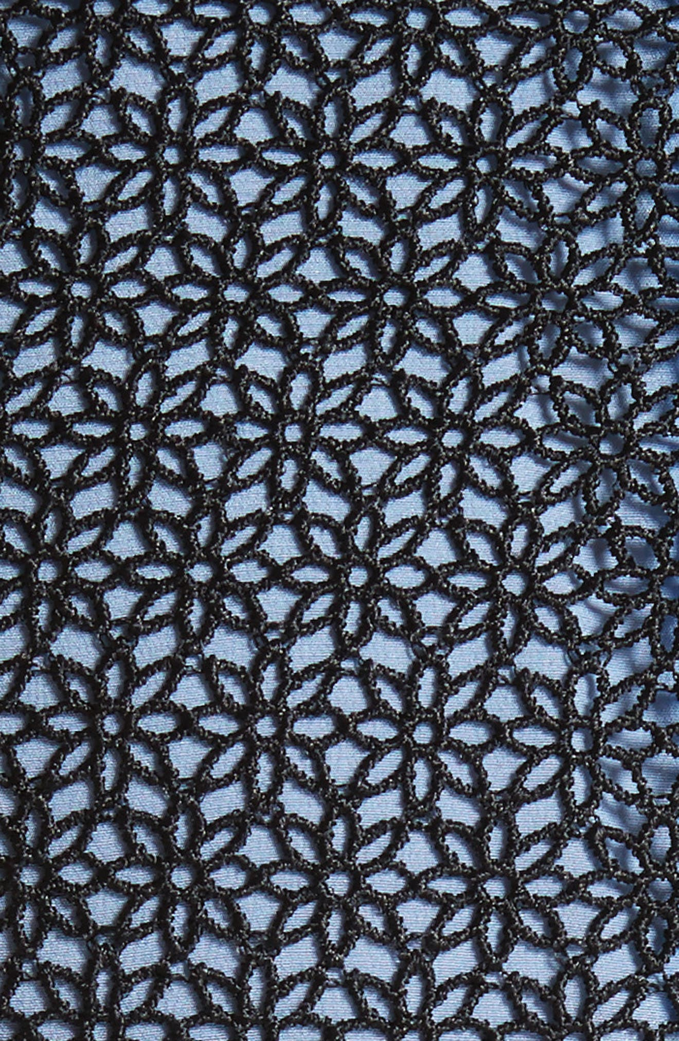 Lace Midi Dress,                             Alternate thumbnail 6, color,                             Black