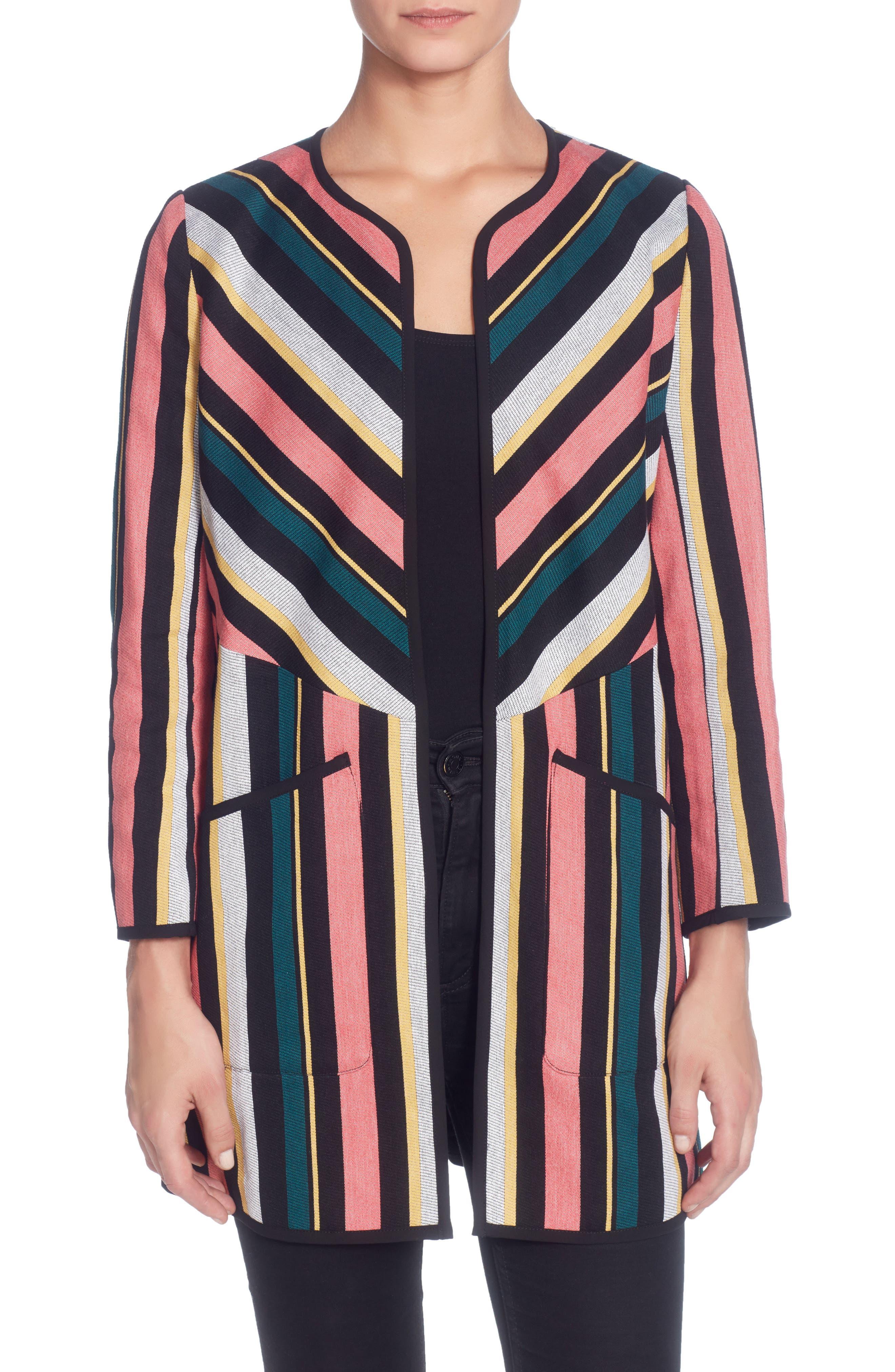 Main Image - Catherine Catherine Malandrino Pip Stripe Jacket