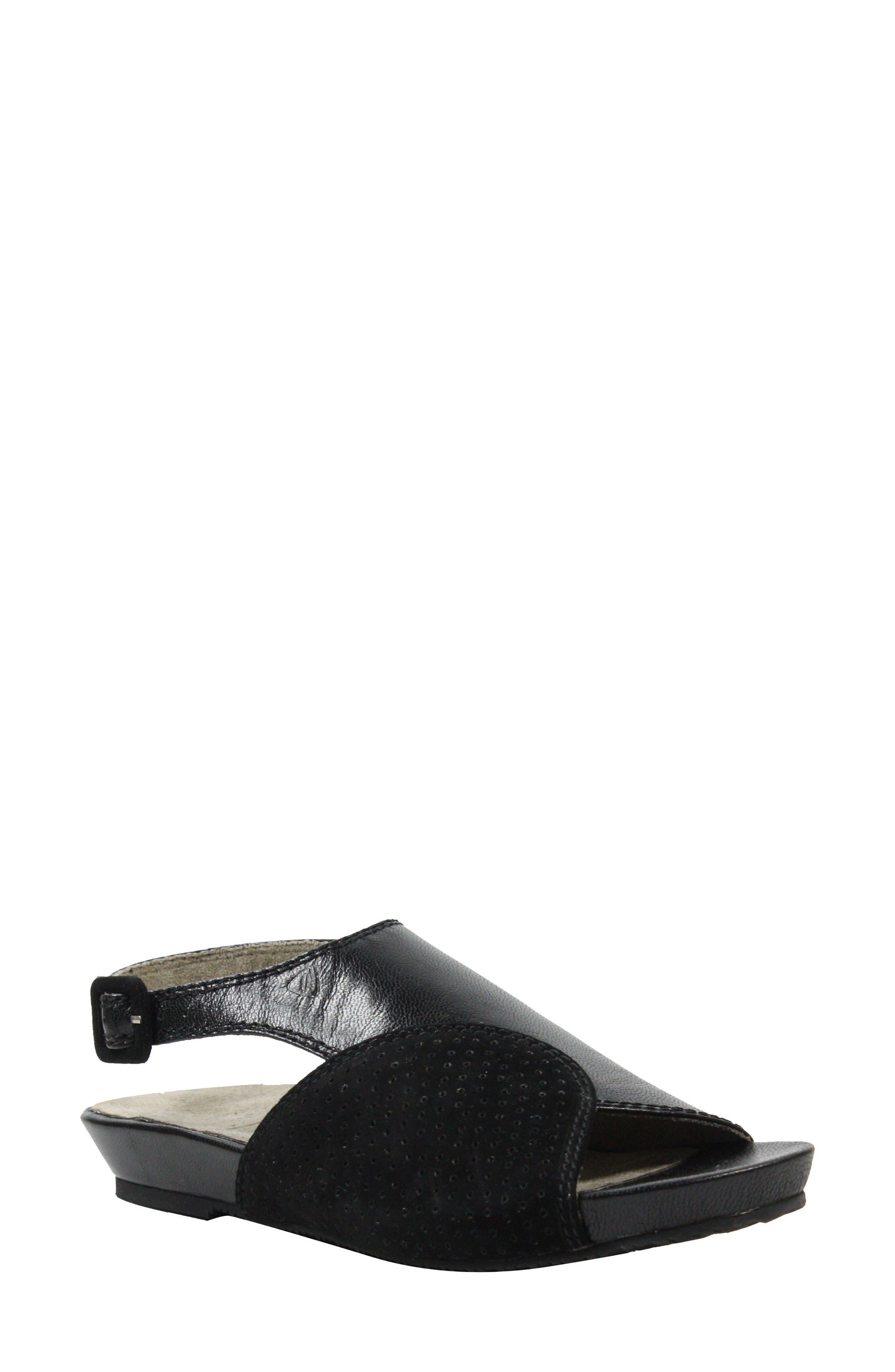 Dalenna Ankle Strap Sandal,                         Main,                         color, Black Leather