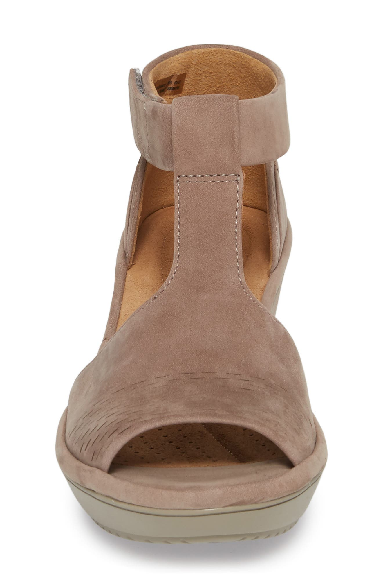 Wynnmere Avah T-Strap Wedge Sandal,                             Alternate thumbnail 4, color,                             Warm Grey Nubuck