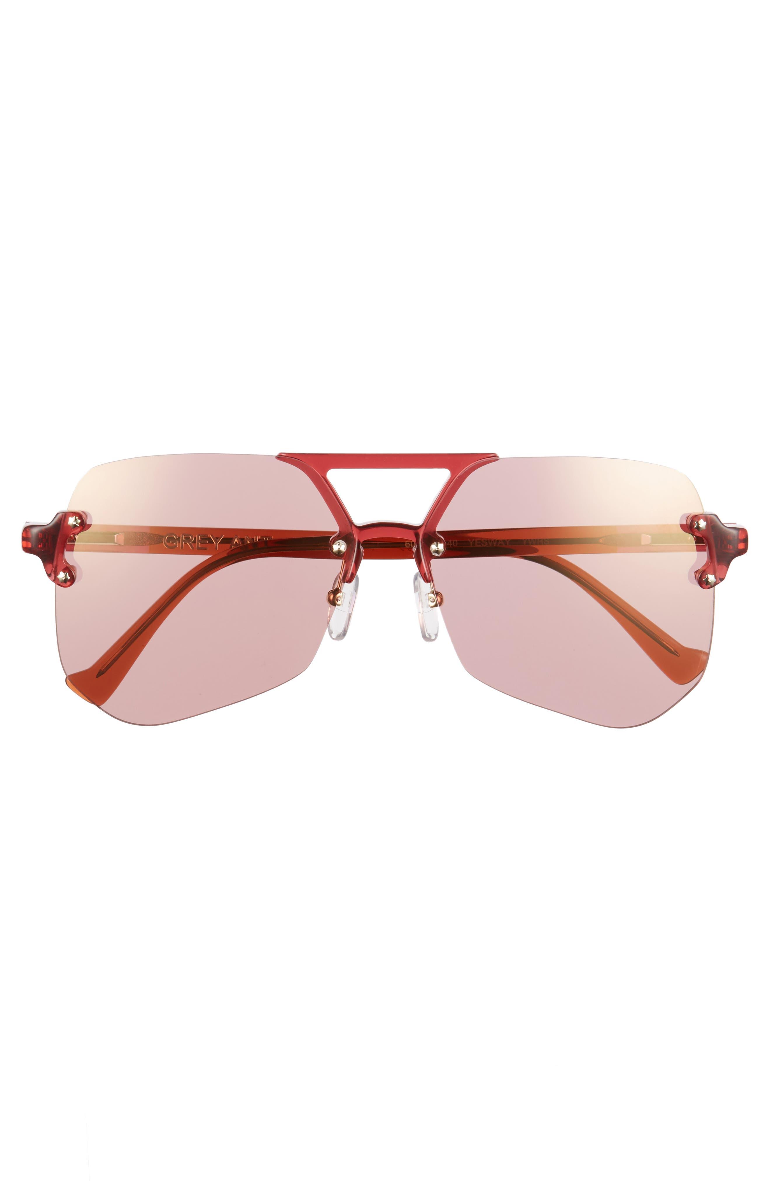Yesway 60mm Sunglasses,                             Alternate thumbnail 3, color,                             Rose Lens/ Gold Hardware