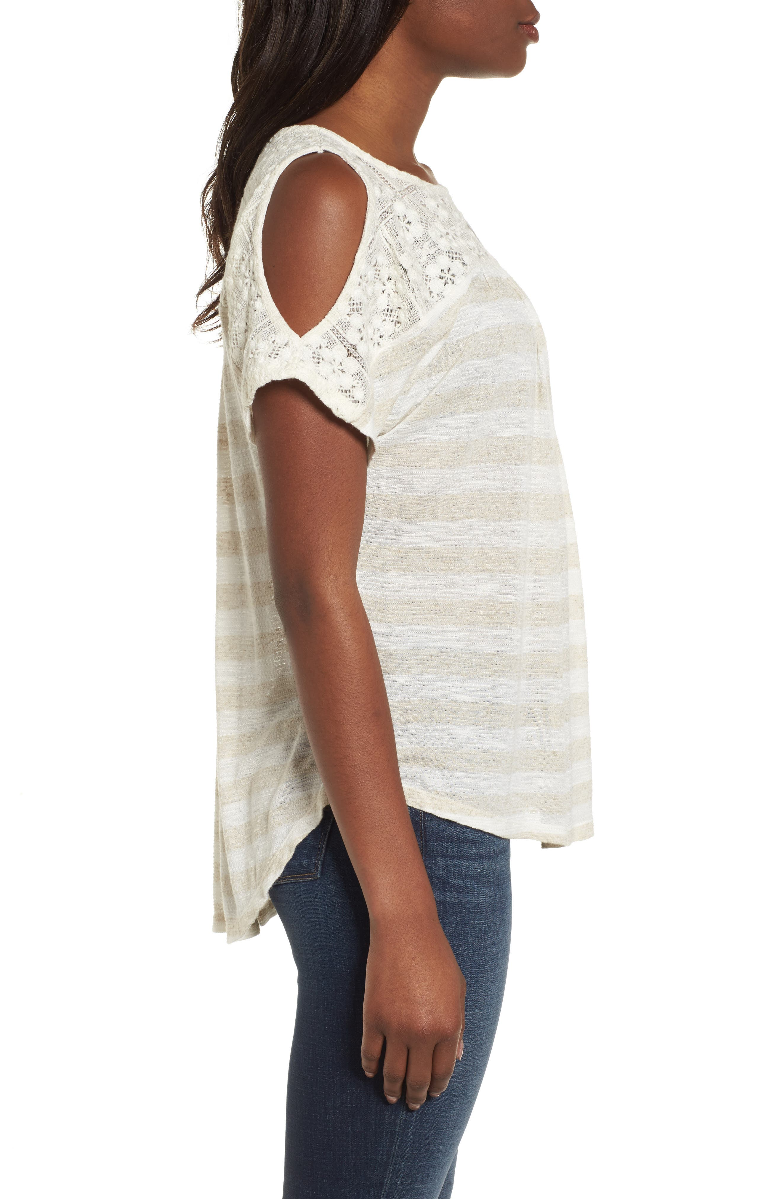 Lace Cold Shoulder Shirt,                             Alternate thumbnail 3, color,                             Oatmeal Stripe