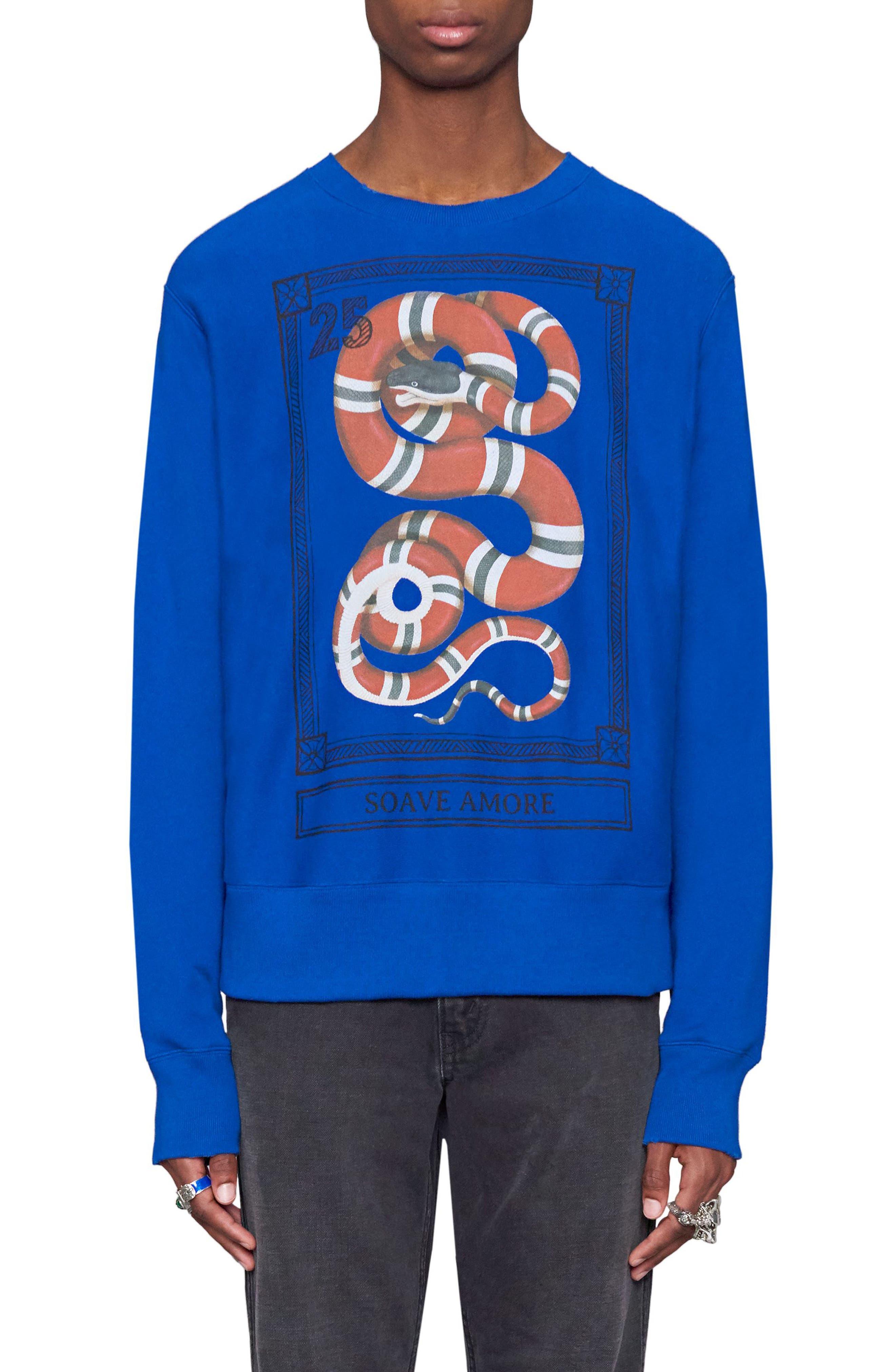 Snake Stamp Graphic Crewneck Sweatshirt,                         Main,                         color, Electric Blue