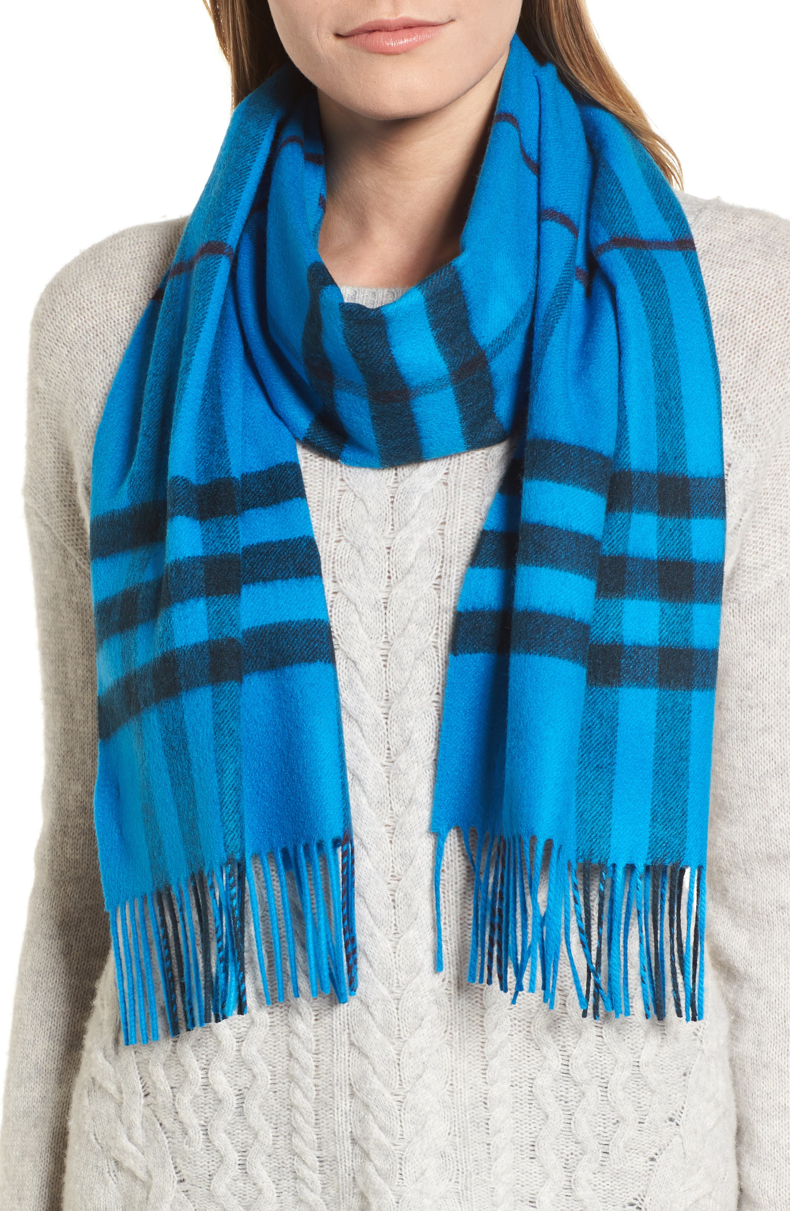 Overdyed Giant Check Cashmere Scarf,                             Alternate thumbnail 3, color,                             Bright Blue