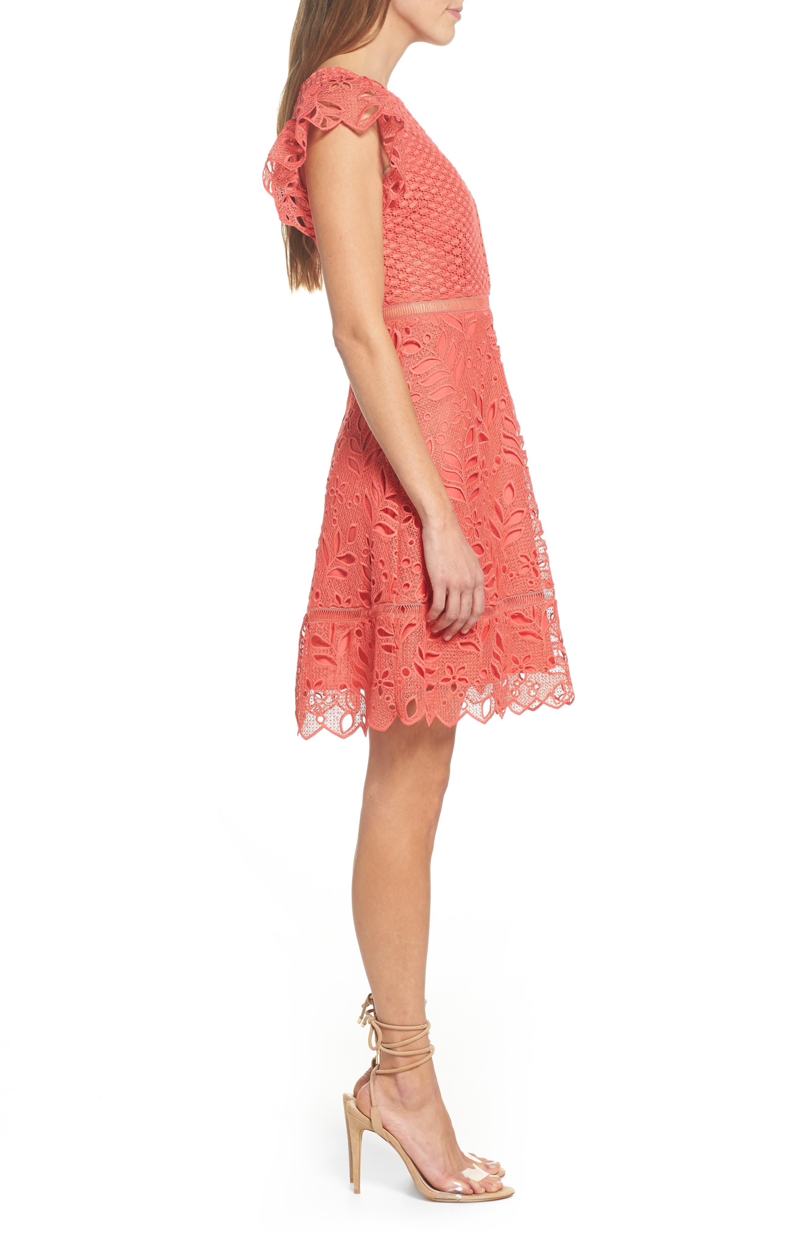 Ariane Mix Lace Dress,                             Alternate thumbnail 3, color,                             Cantaloupe
