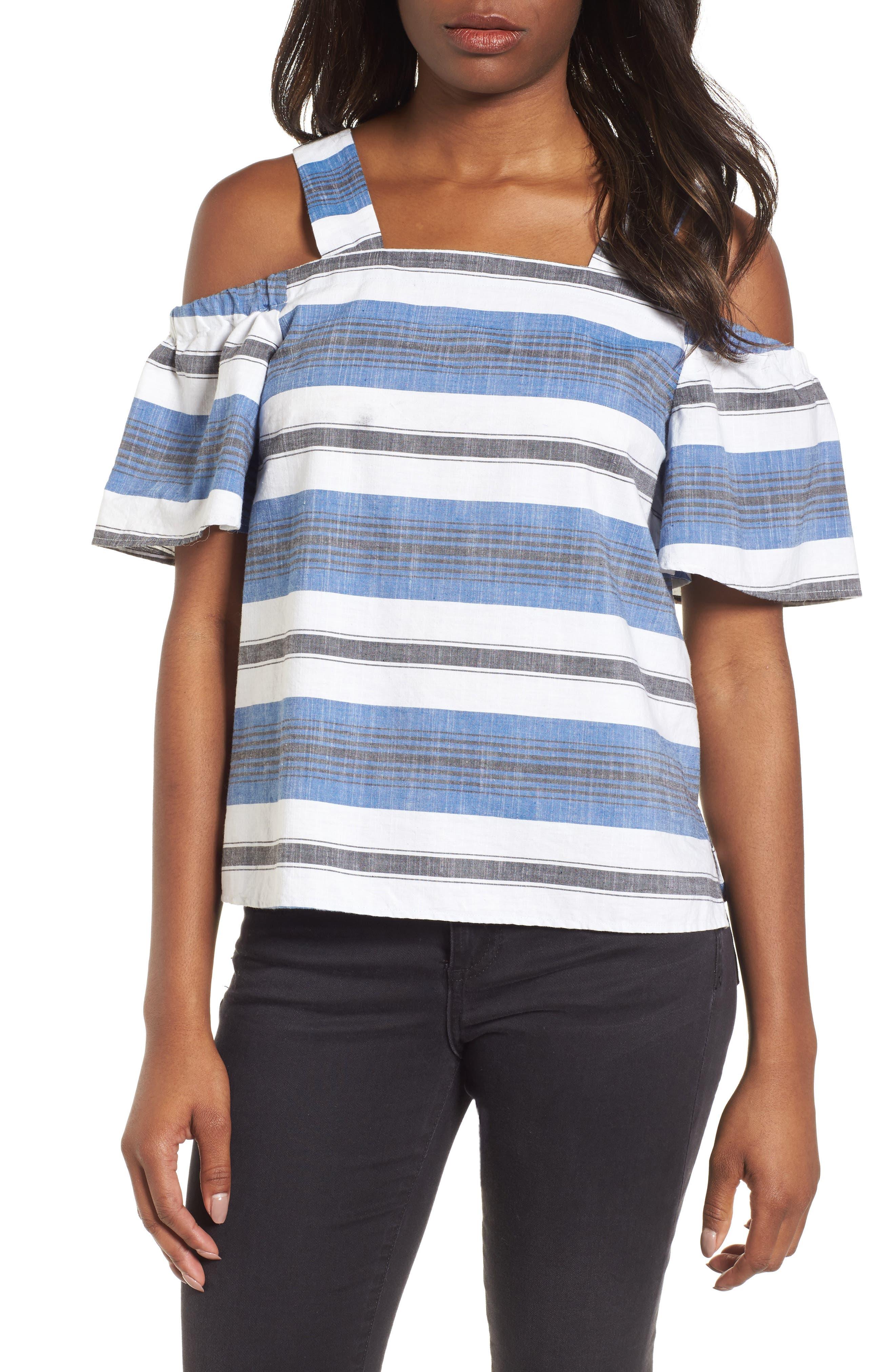 Stripe Cold Shoulder Top,                             Main thumbnail 1, color,                             Blue Multi