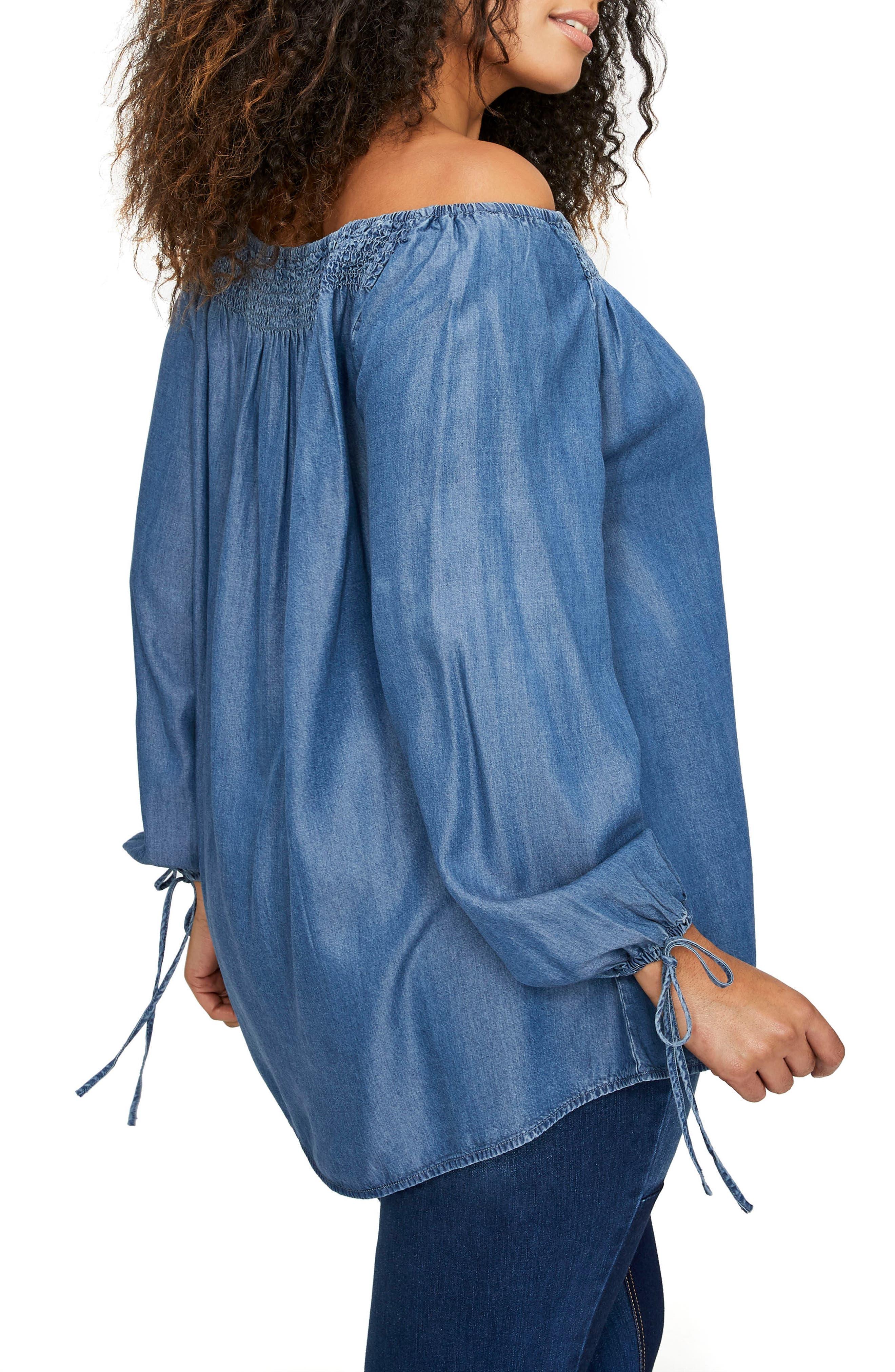 Lace-Up Off the Shoulder Blouse,                             Alternate thumbnail 2, color,                             Medium Denim