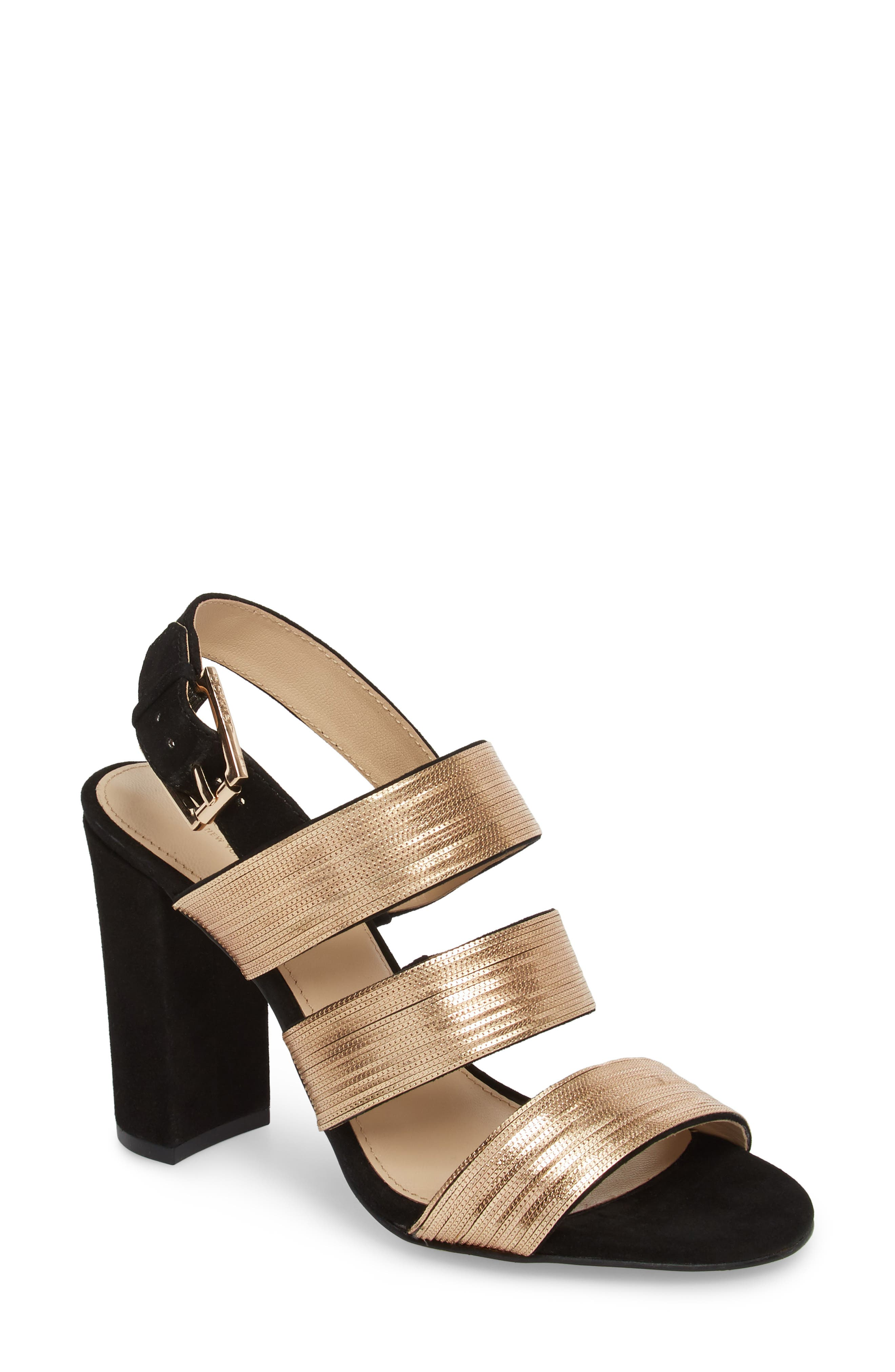 Genesa Chain Slingback Sandal,                             Main thumbnail 1, color,                             Black/ Gold Suede