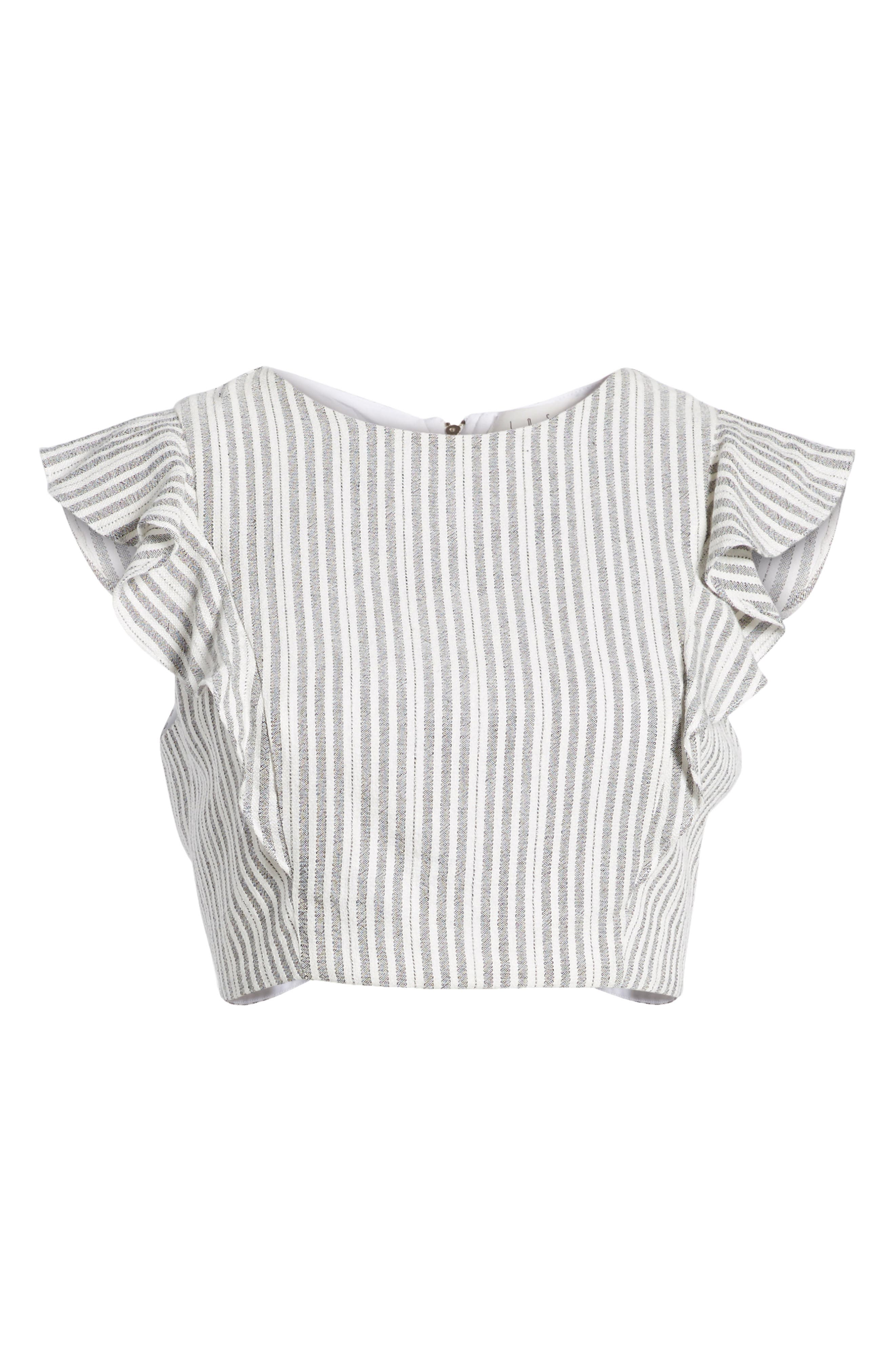 Vacay Flutter Sleeve Crop Top,                             Alternate thumbnail 8, color,                             Grey