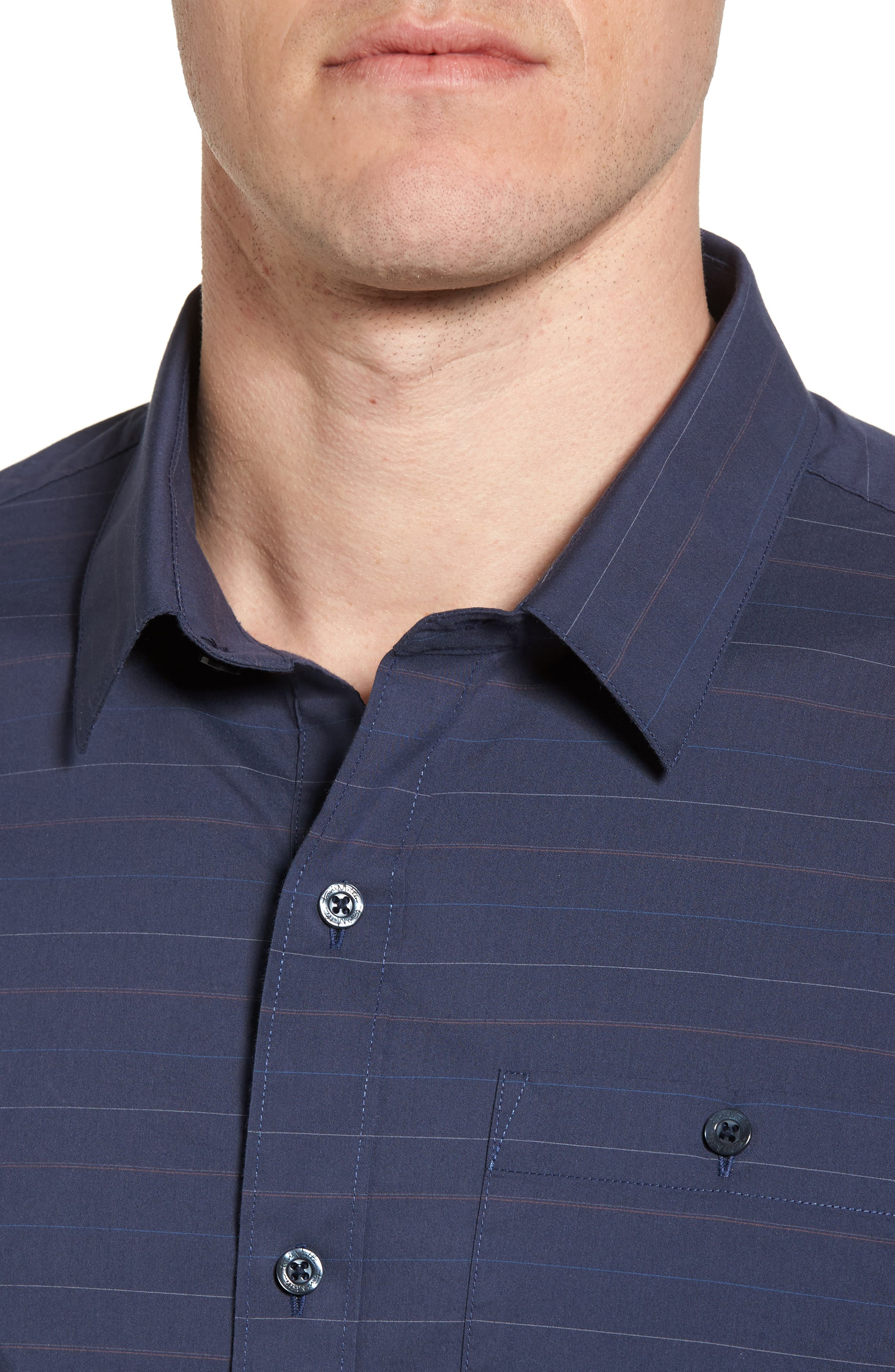 Alternate Image 4  - Travis Mathew Linear Slim Fit Sport Shirt