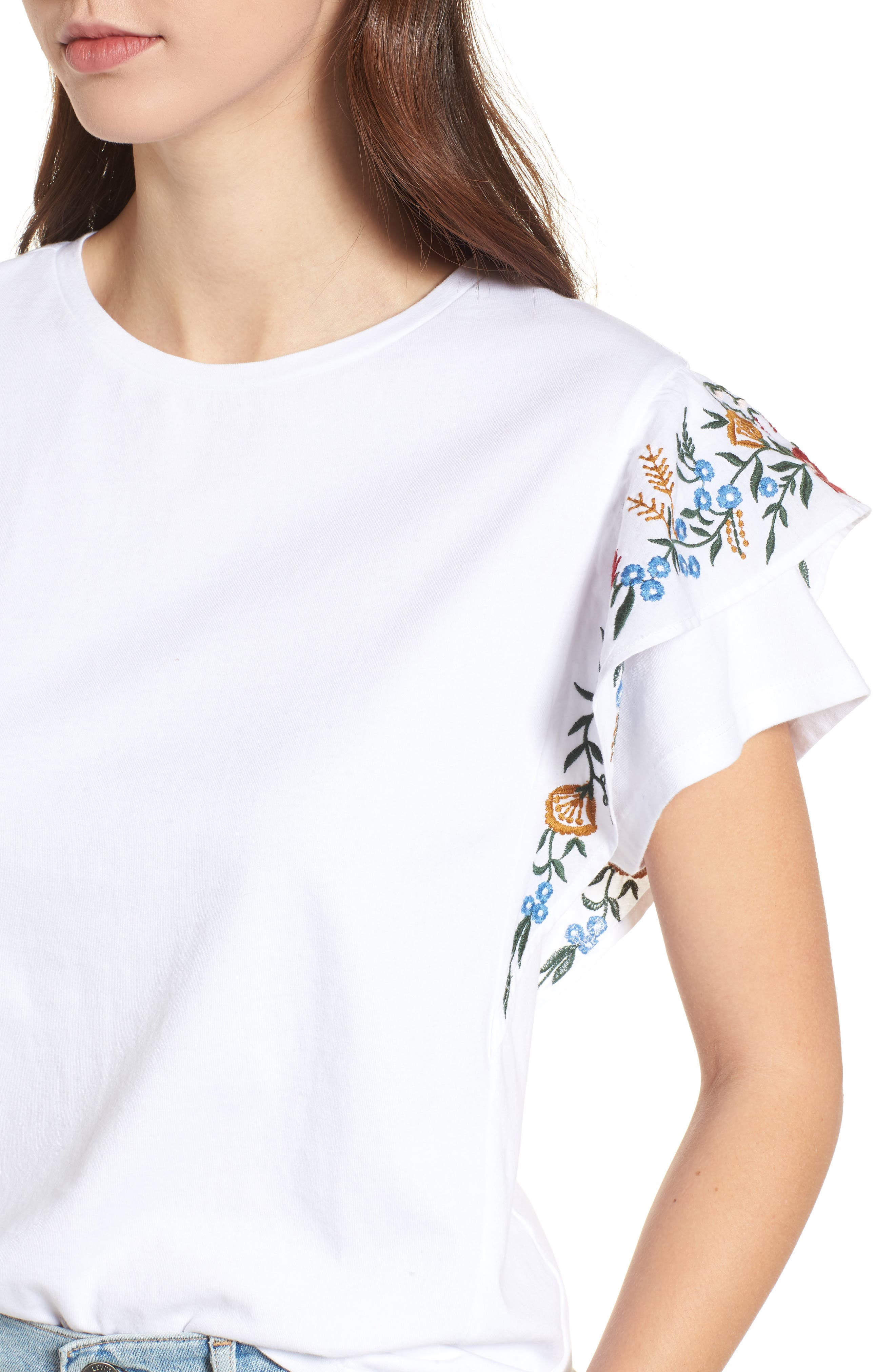 Embroidered Cotton Tee,                             Alternate thumbnail 4, color,                             White