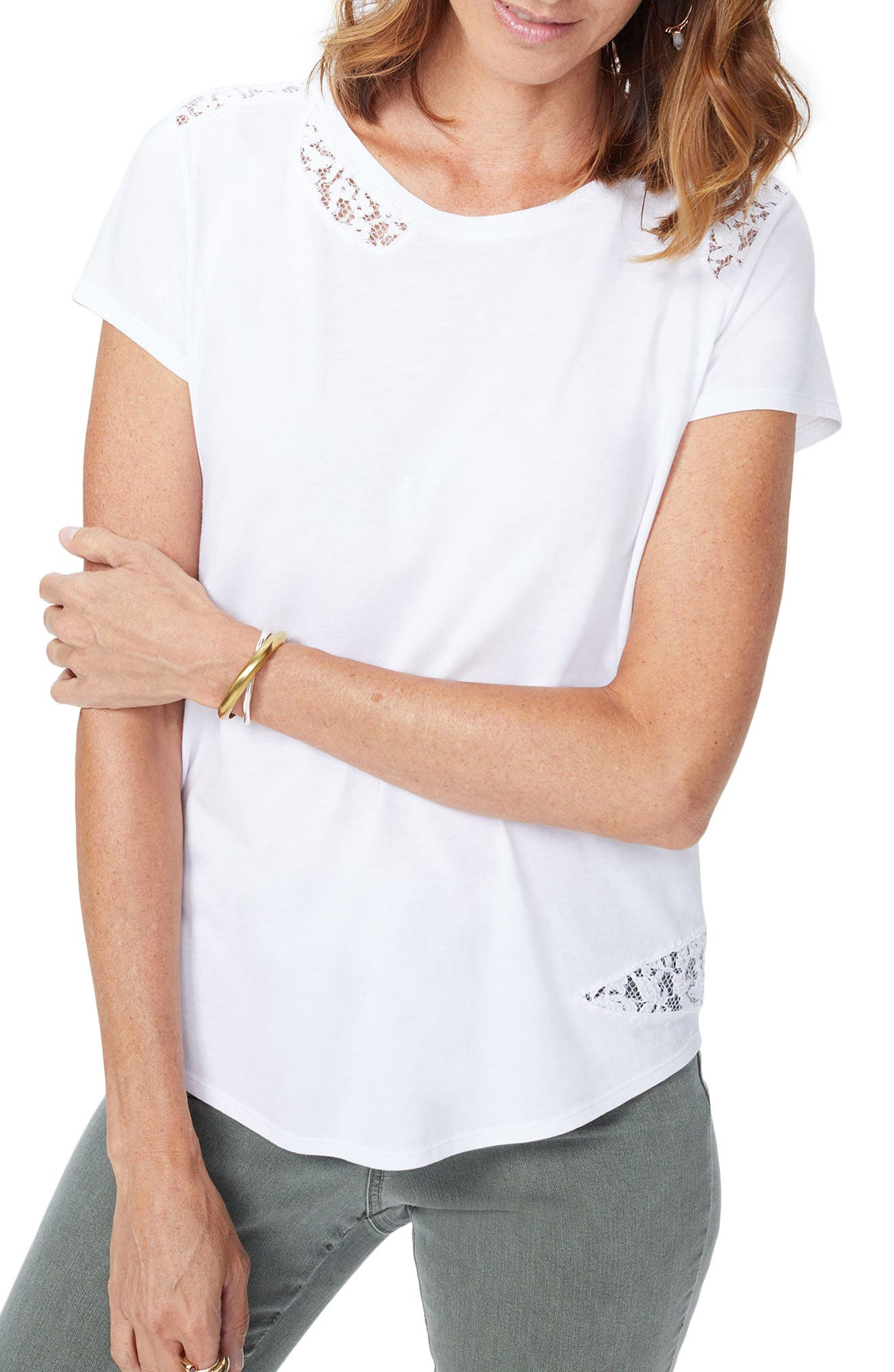 Lace Inset Short Sleeve Shirt,                         Main,                         color, Optic White