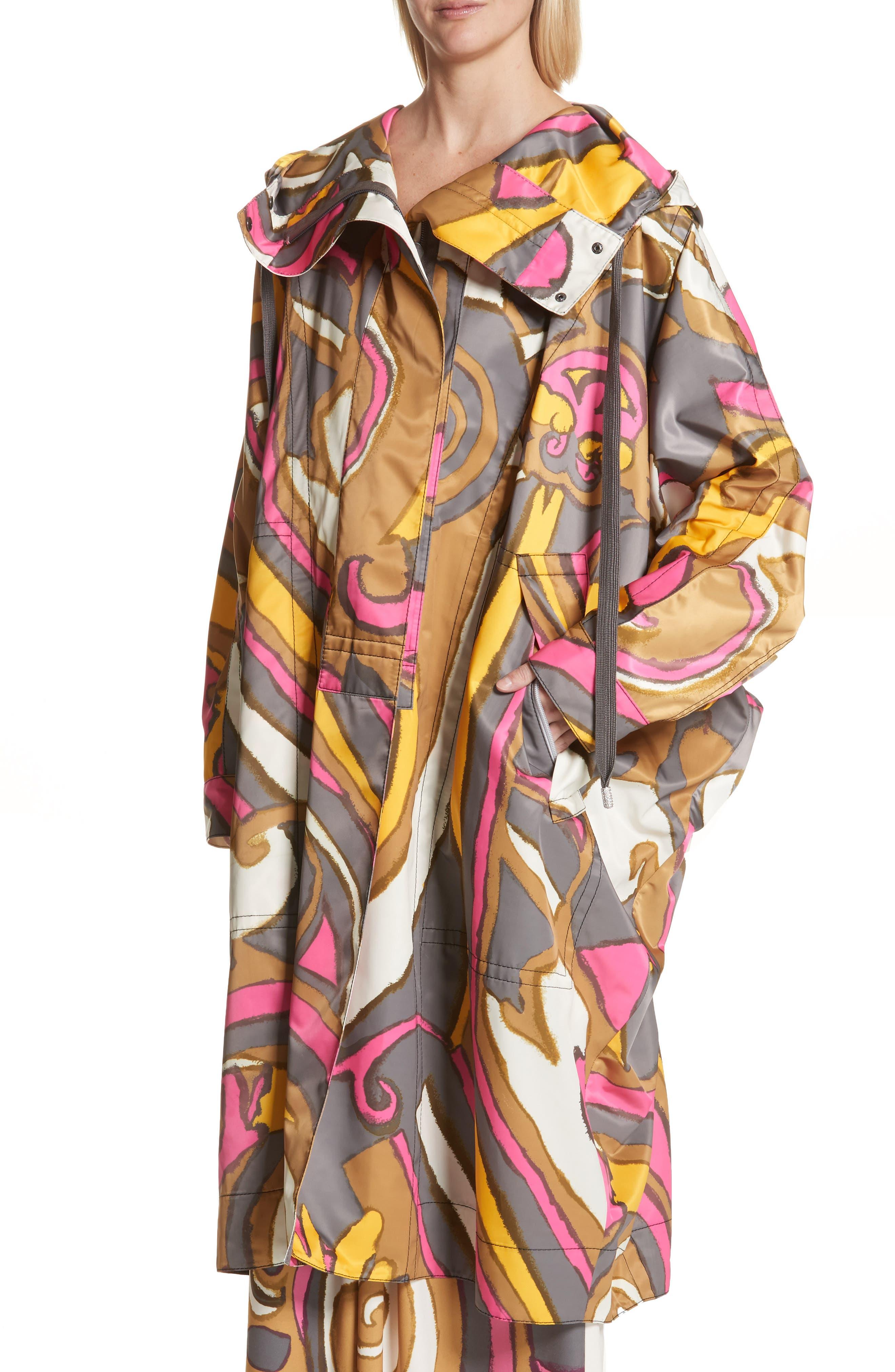 Retro Print Oversize Coat,                             Alternate thumbnail 4, color,                             Grey Multi