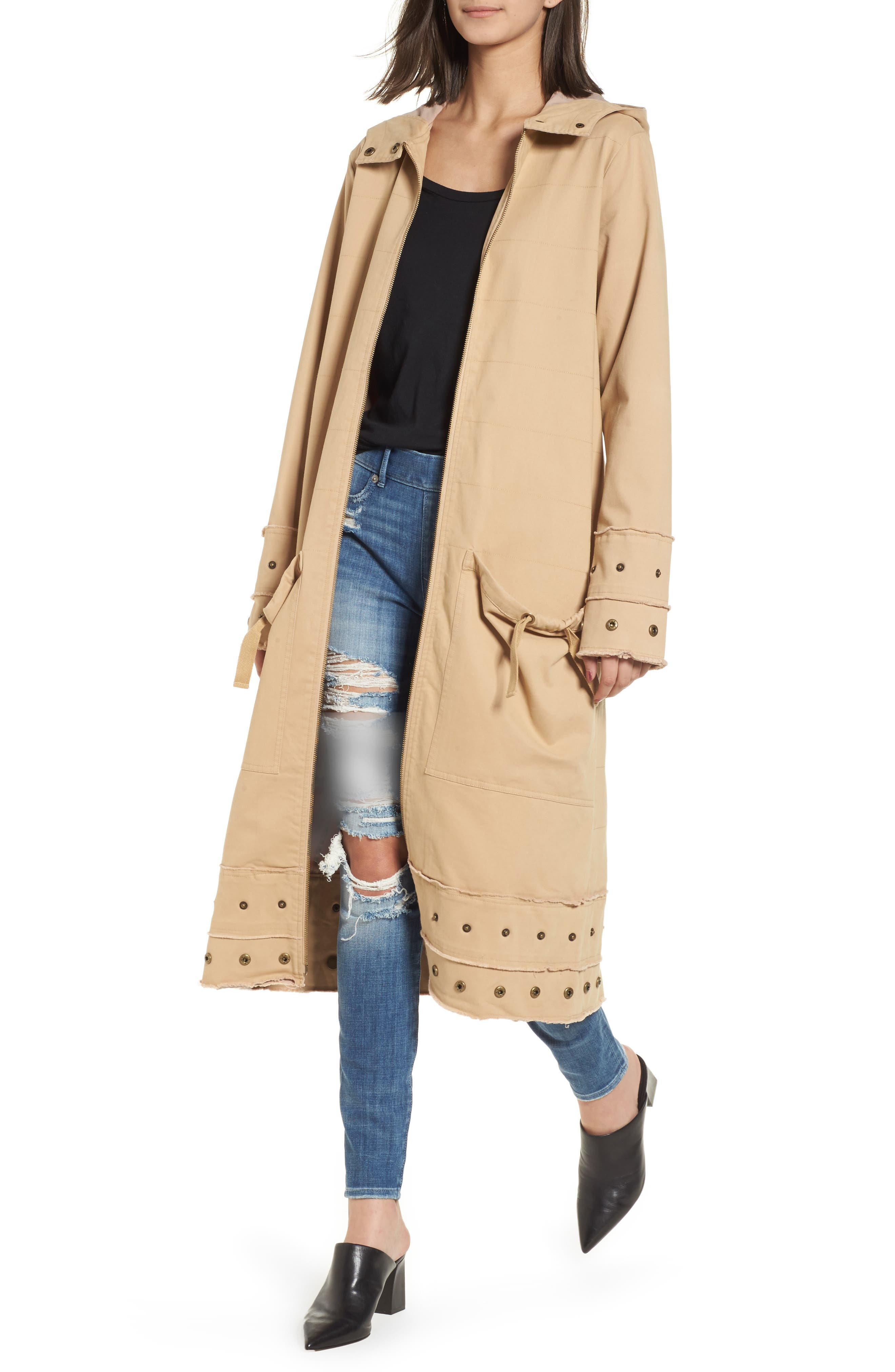 Snap Detail Trench Coat,                             Main thumbnail 1, color,                             Honey Taupe