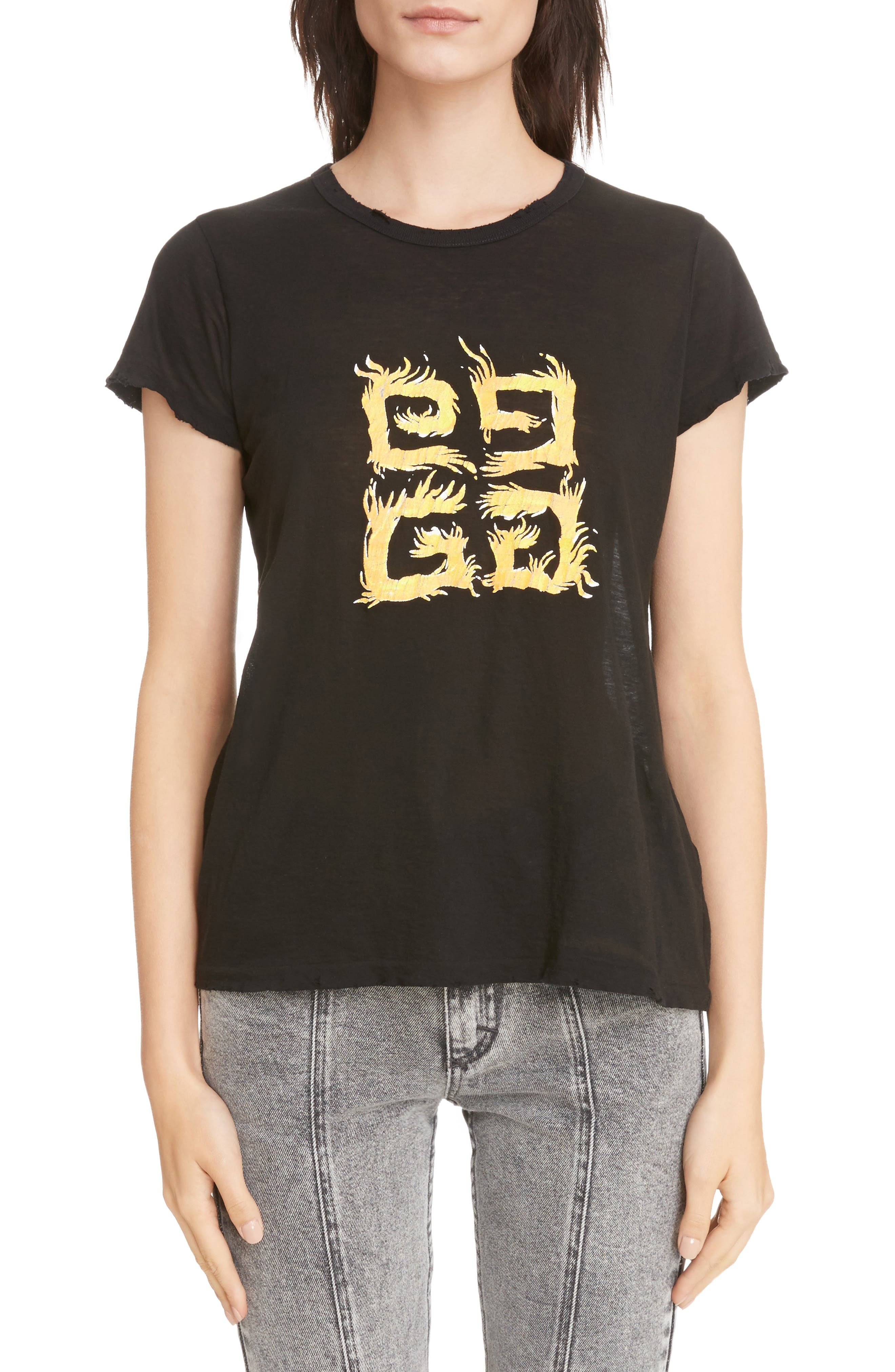 Fire Logo Distressed Tee,                         Main,                         color, Black