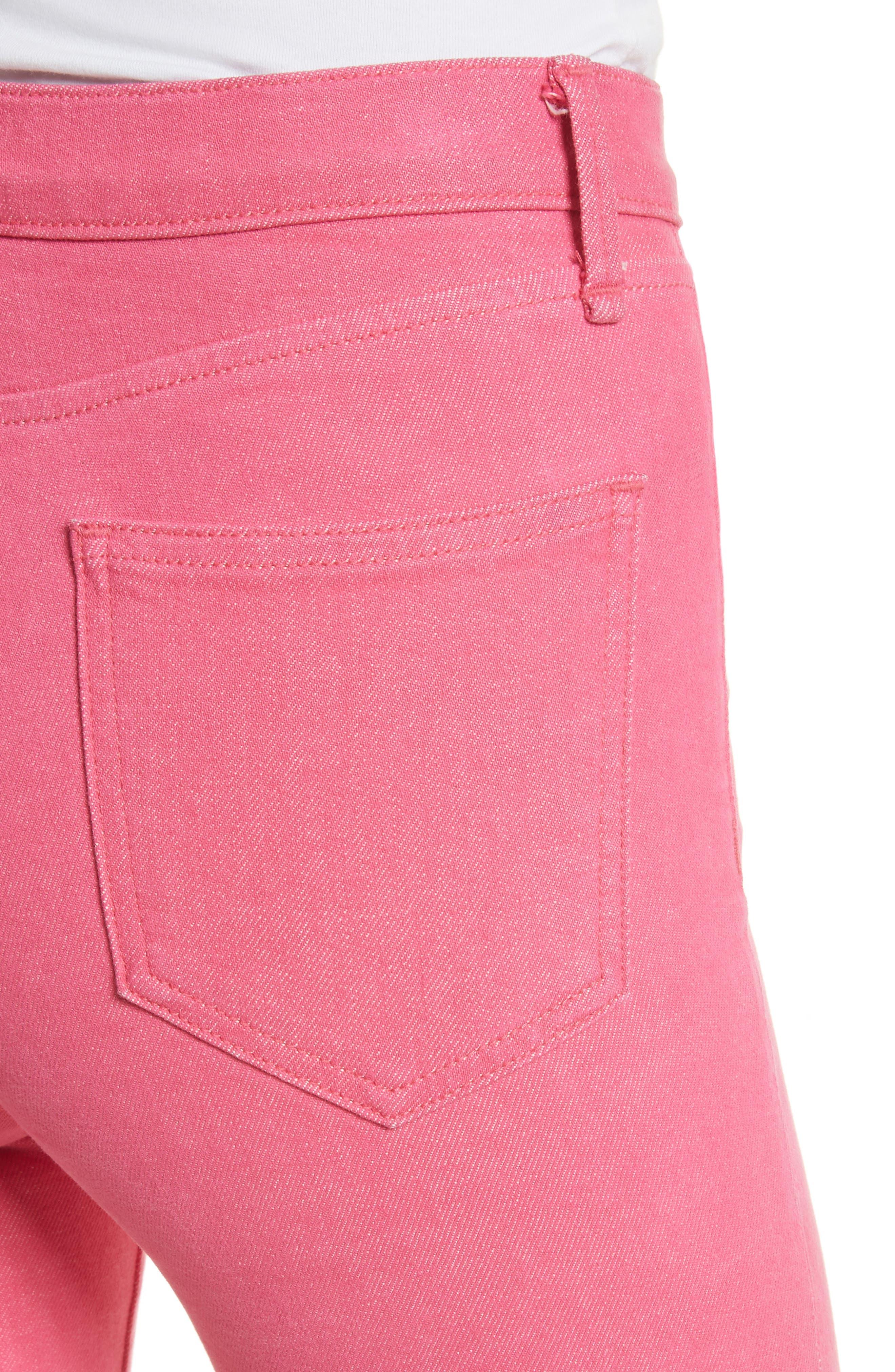 High Waist Ankle Cigarette Leg Jeans,                             Alternate thumbnail 4, color,                             Bull Pink