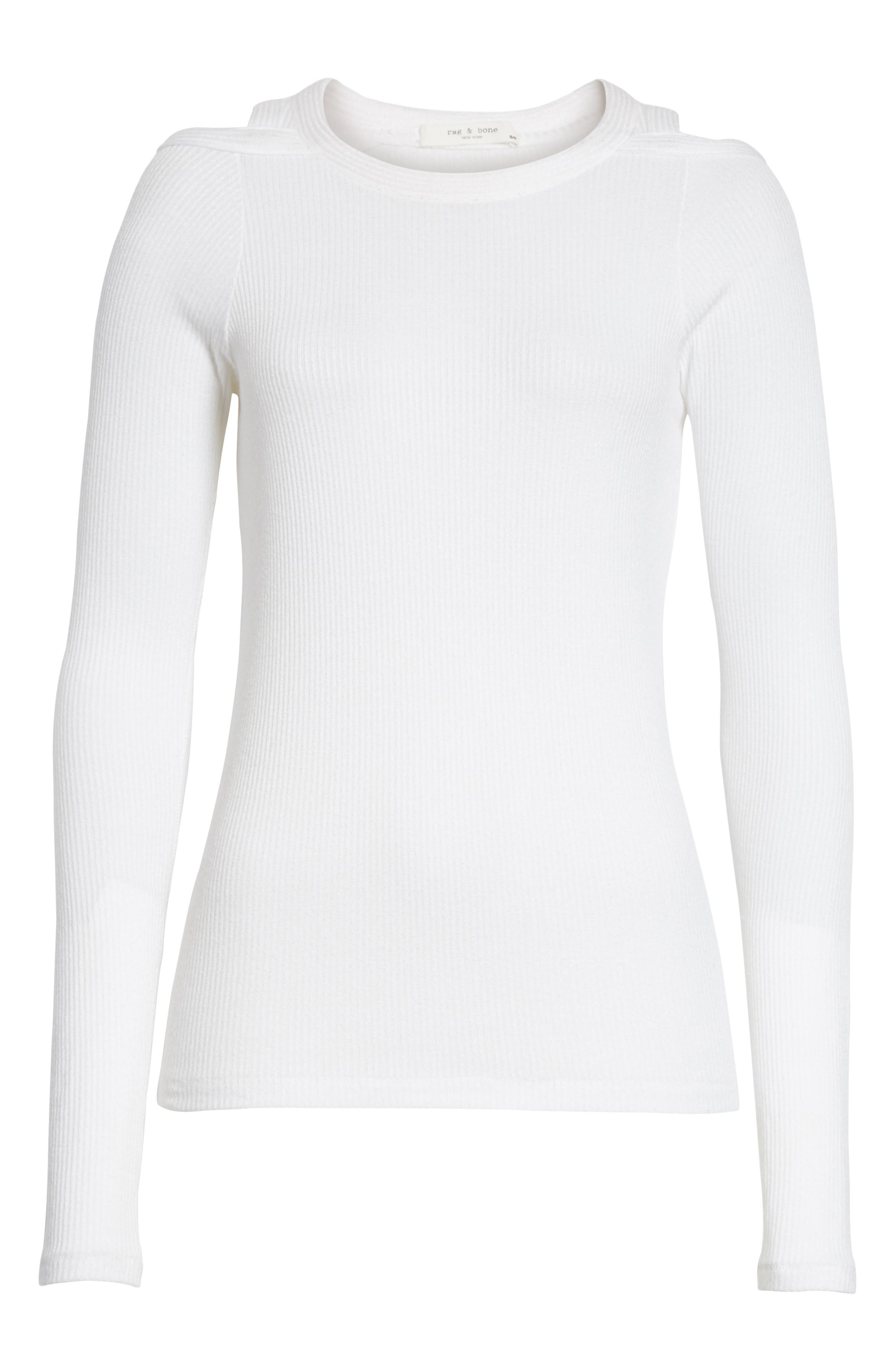 Rosalind Cutout Ribbed Top,                             Alternate thumbnail 6, color,                             White