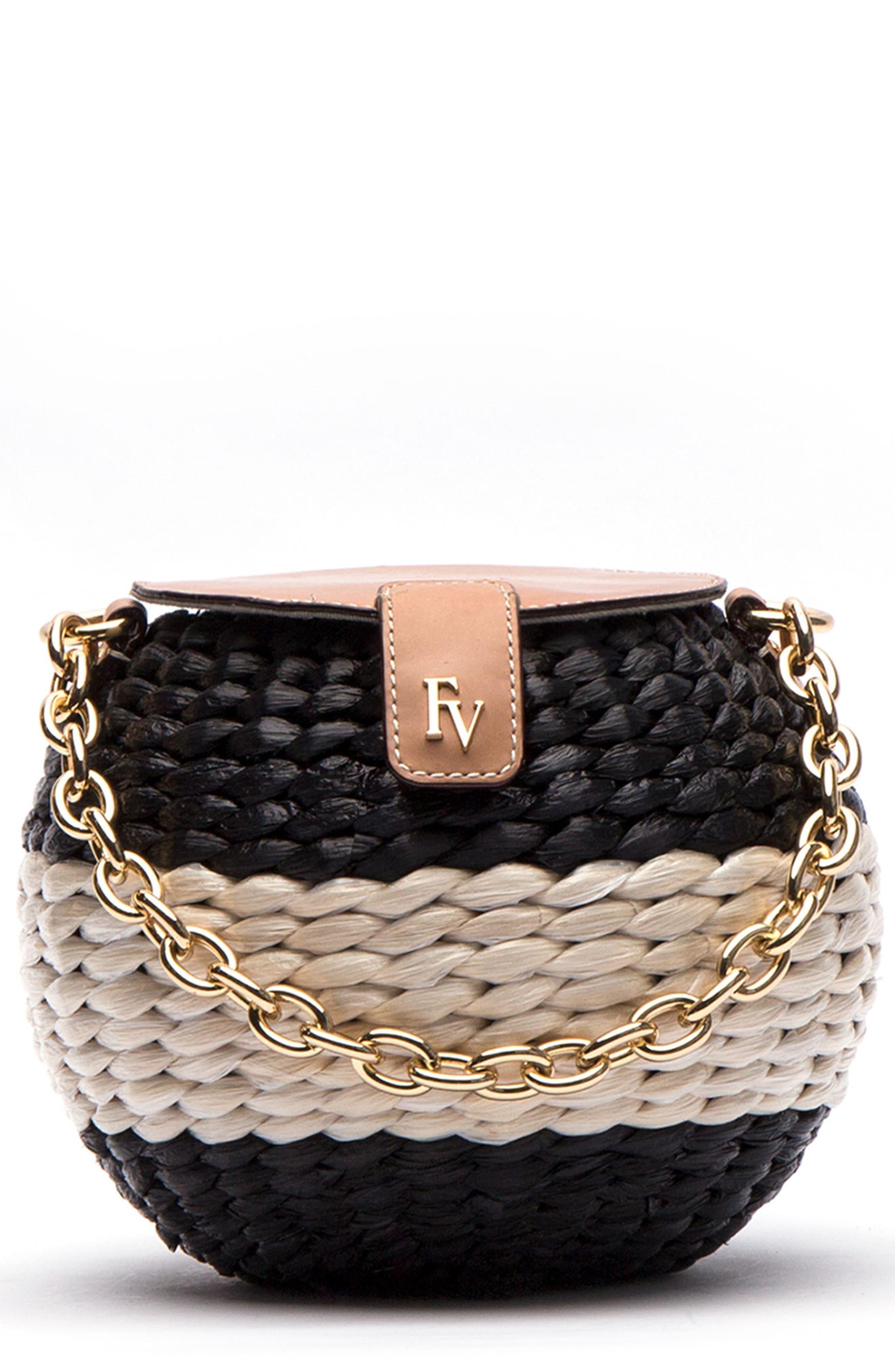 Mini Woven Bucket Bag,                             Main thumbnail 1, color,                             Black/ White