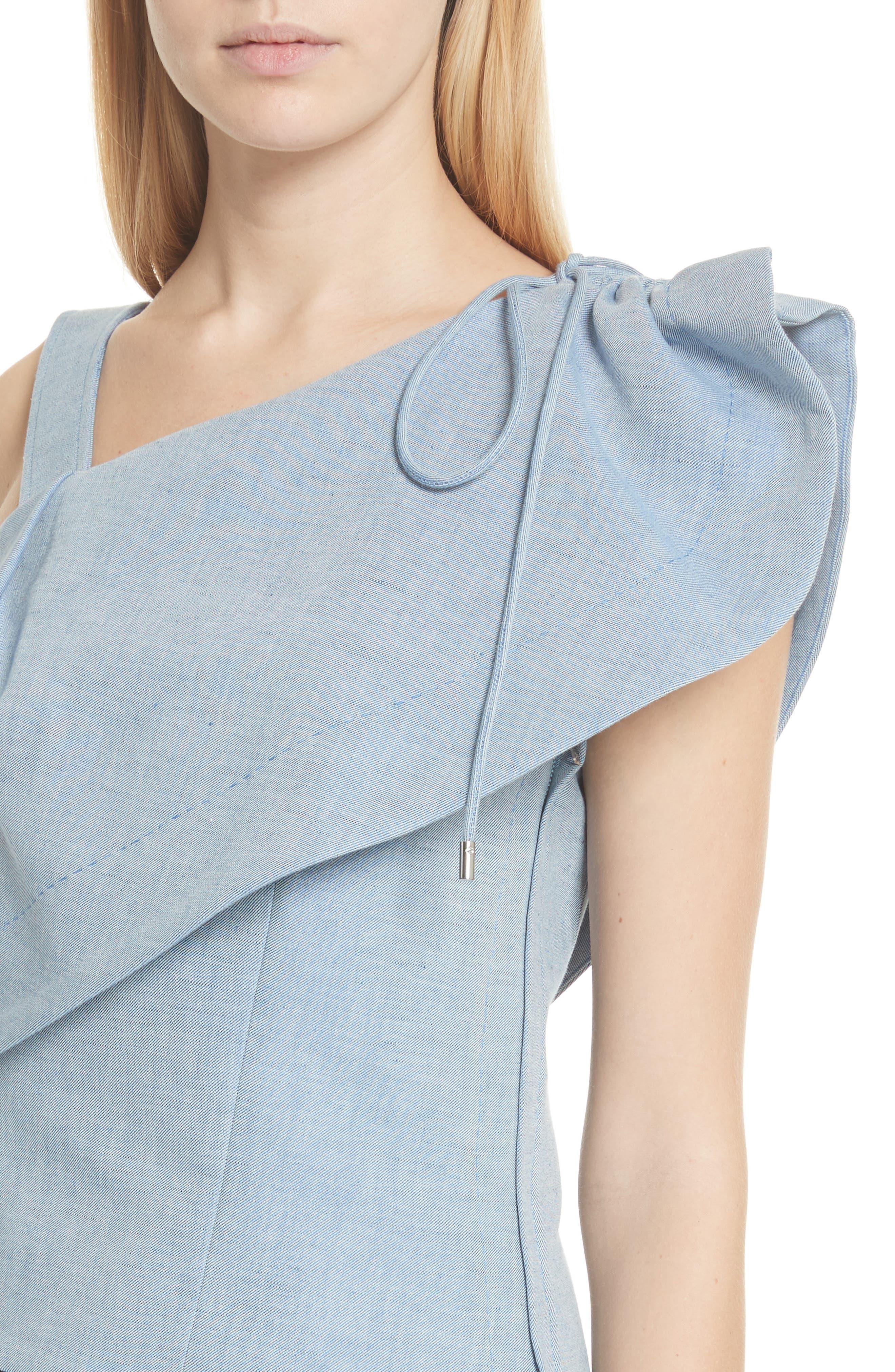 One-Shoulder Cotton & Linen Blend Top,                             Alternate thumbnail 4, color,                             Bleu Acier