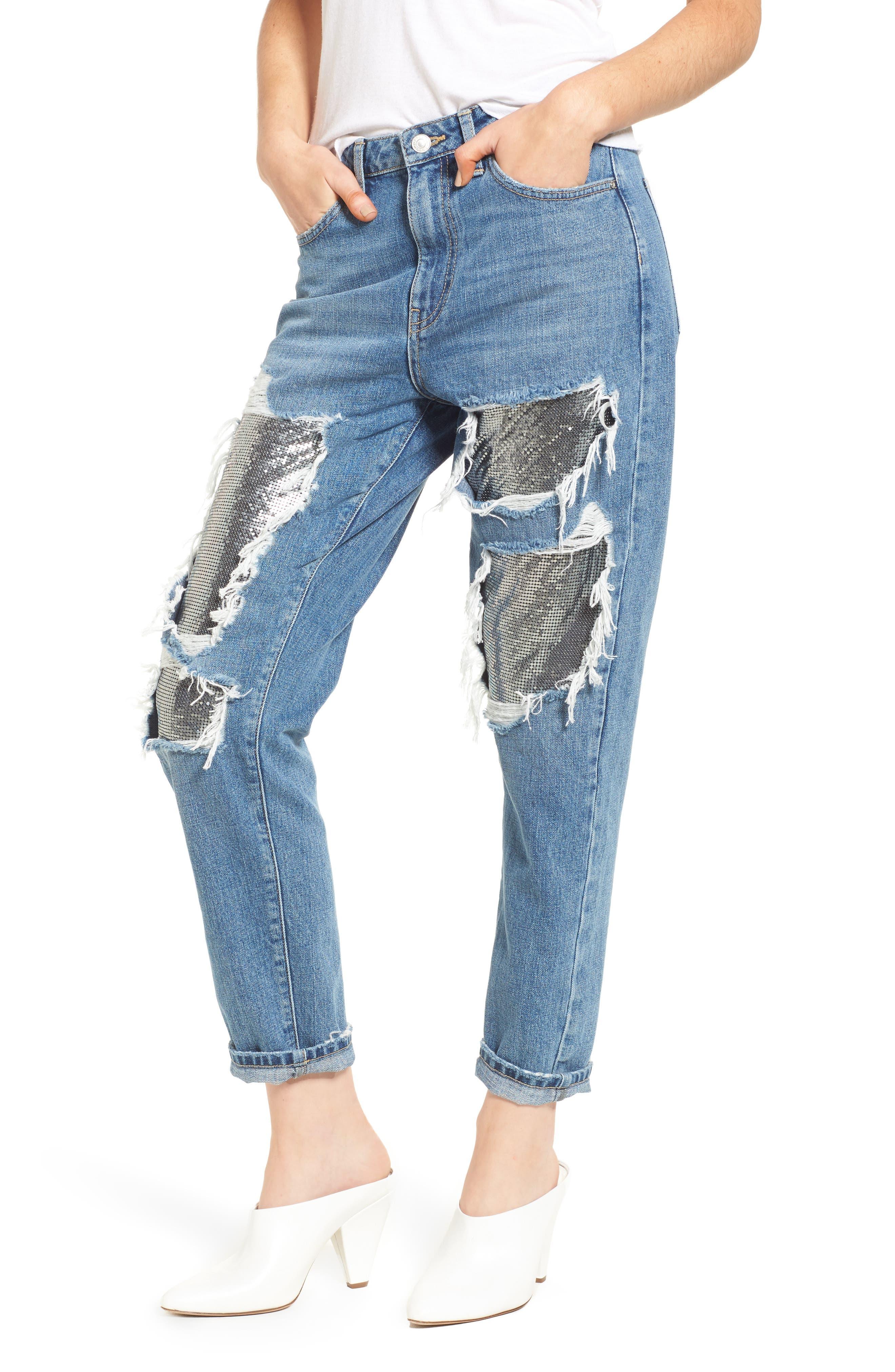 Chain Mail Boyfriend Jeans,                             Main thumbnail 1, color,                             Light Denim Multi