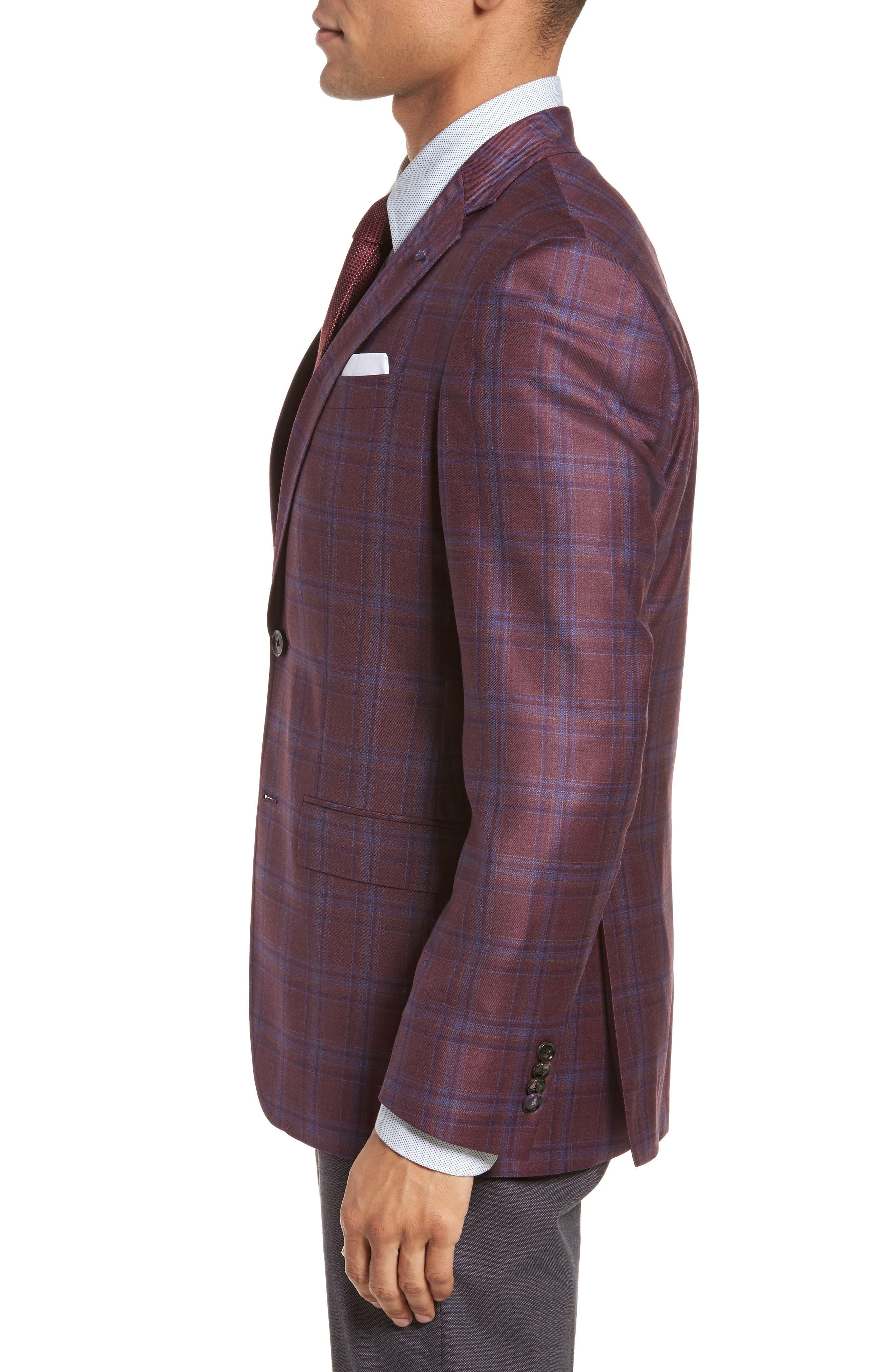 Jay Trim Fit Plaid Wool Sport Coat,                             Alternate thumbnail 3, color,                             Red