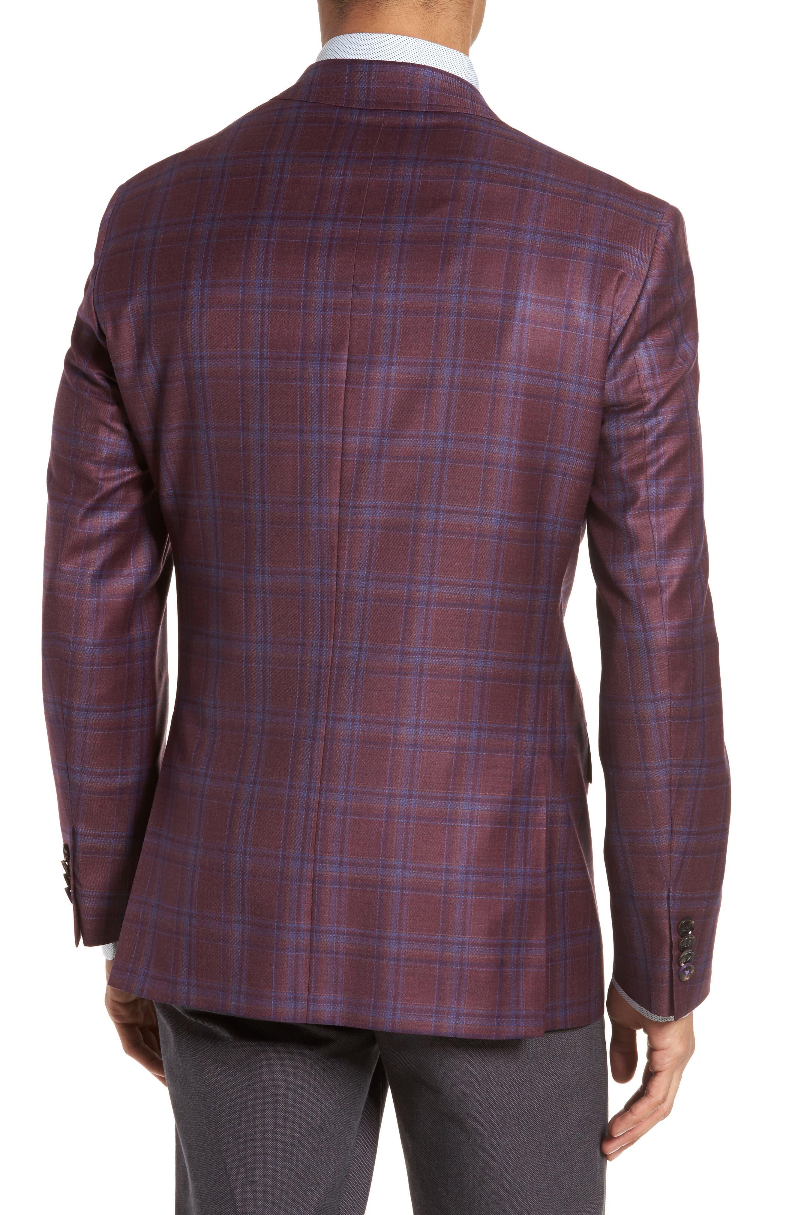 Jay Trim Fit Plaid Wool Sport Coat,                             Alternate thumbnail 2, color,                             Red