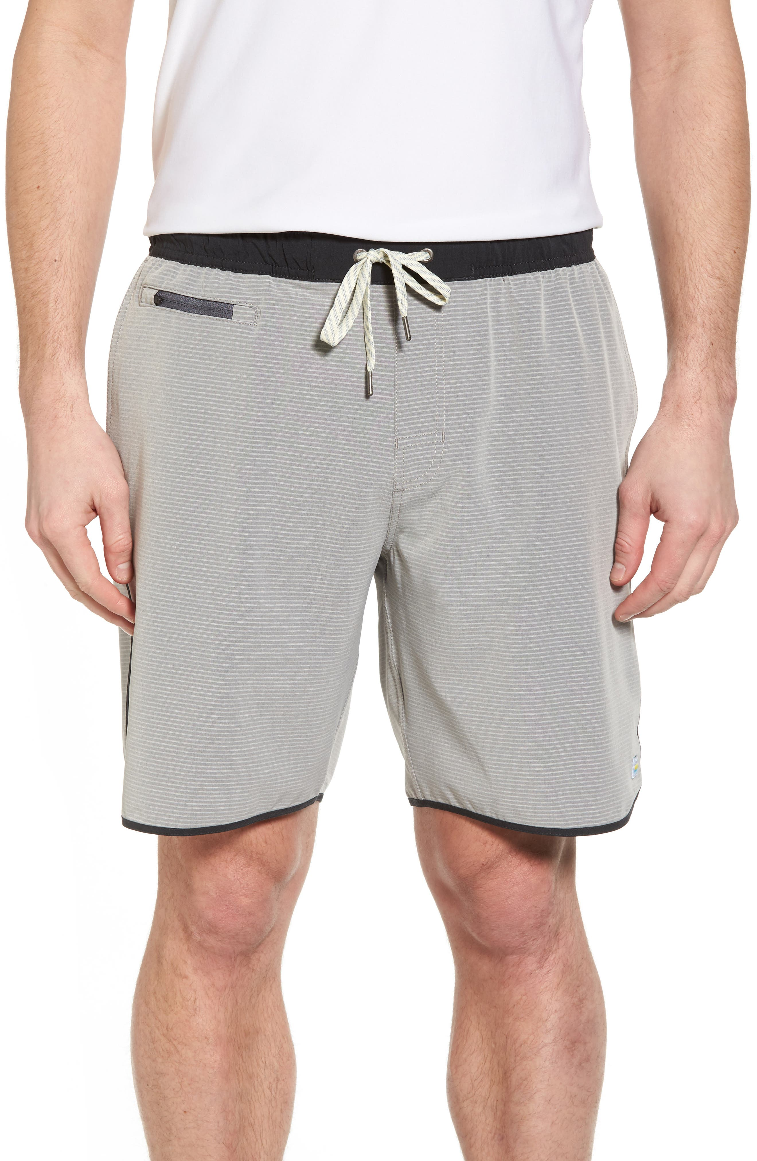 Banks Athletic Shorts,                         Main,                         color, Light Grey Engineered Stripe