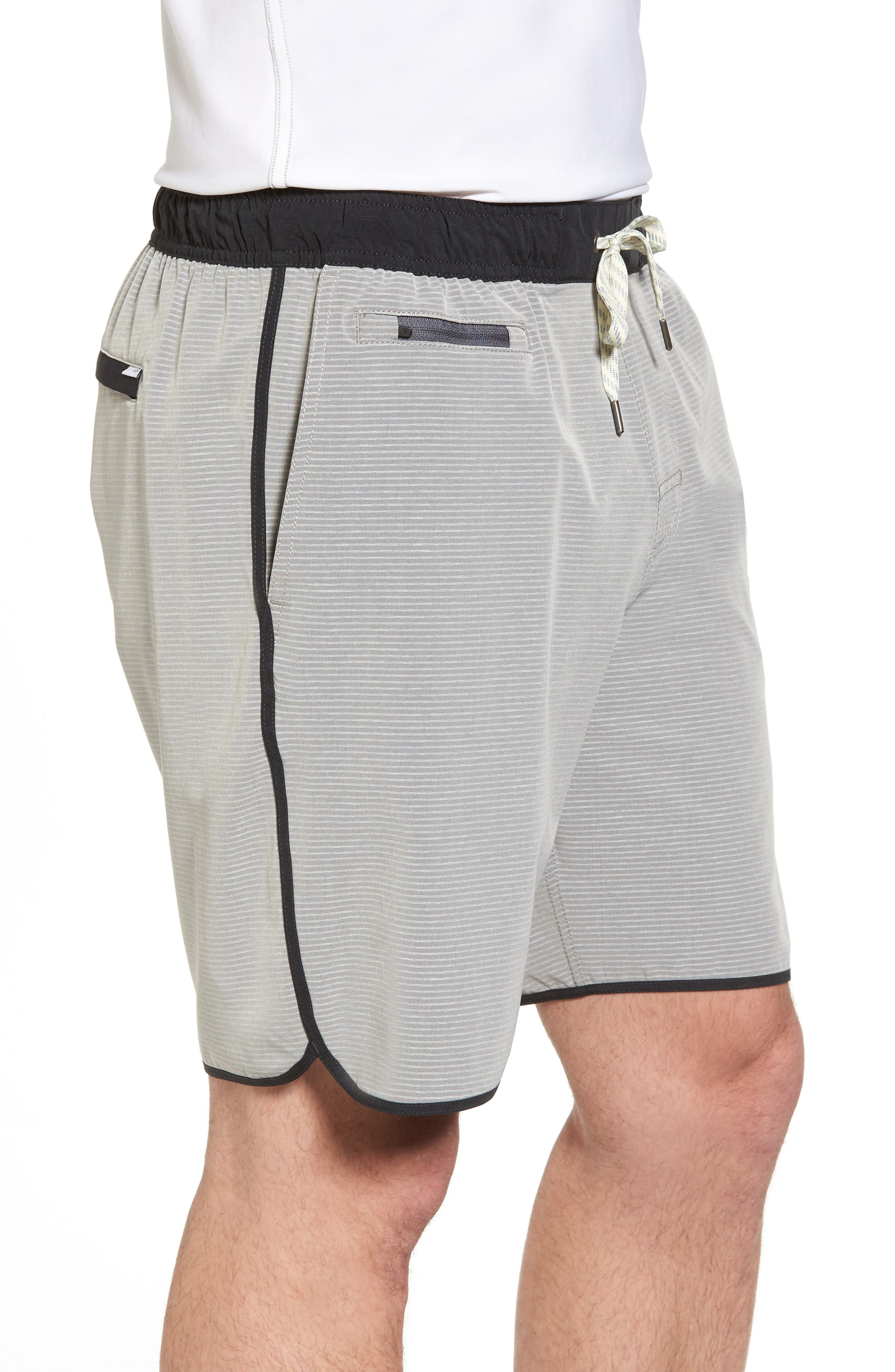 Banks Athletic Shorts,                             Alternate thumbnail 3, color,                             Light Grey Engineered Stripe