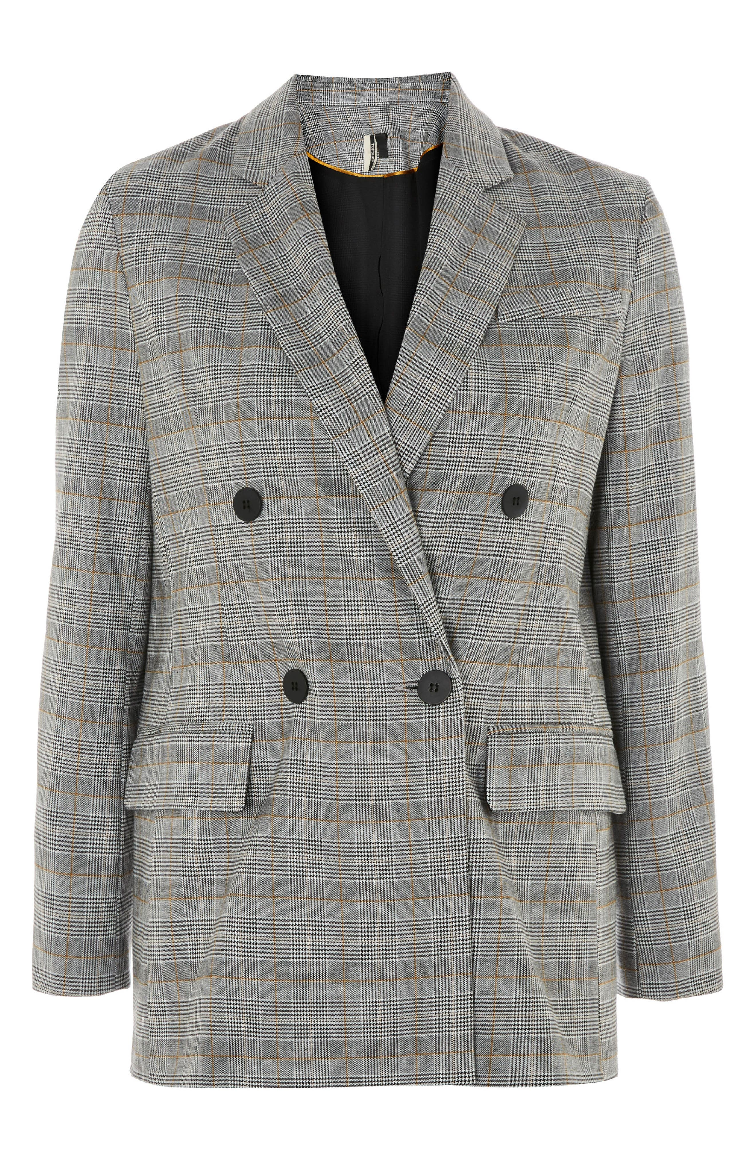 Double Breasted Check Jacket,                             Alternate thumbnail 4, color,                             Grey Multi