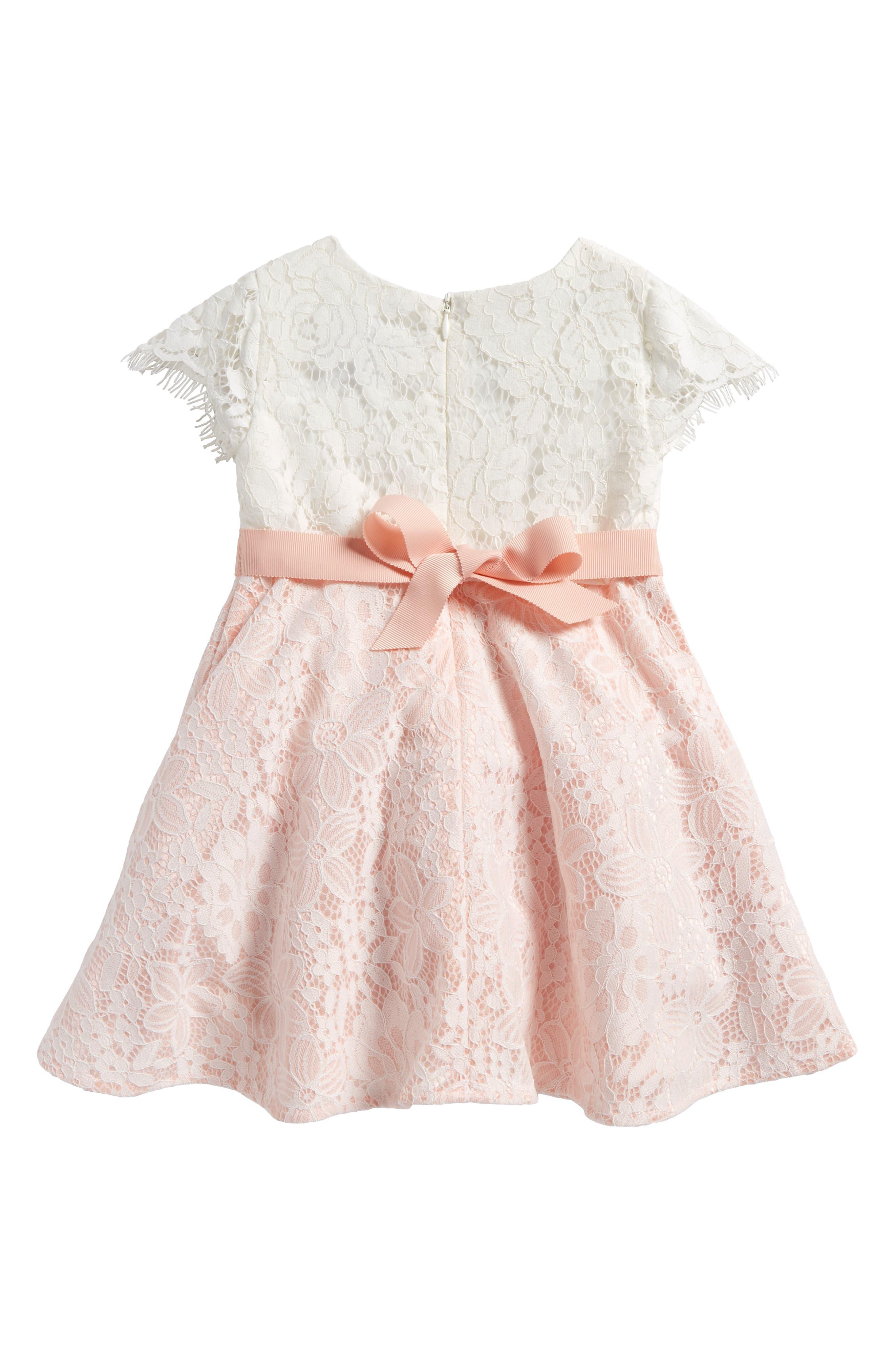 Cap Sleeve Lace Dress,                             Alternate thumbnail 2, color,                             Rosewater