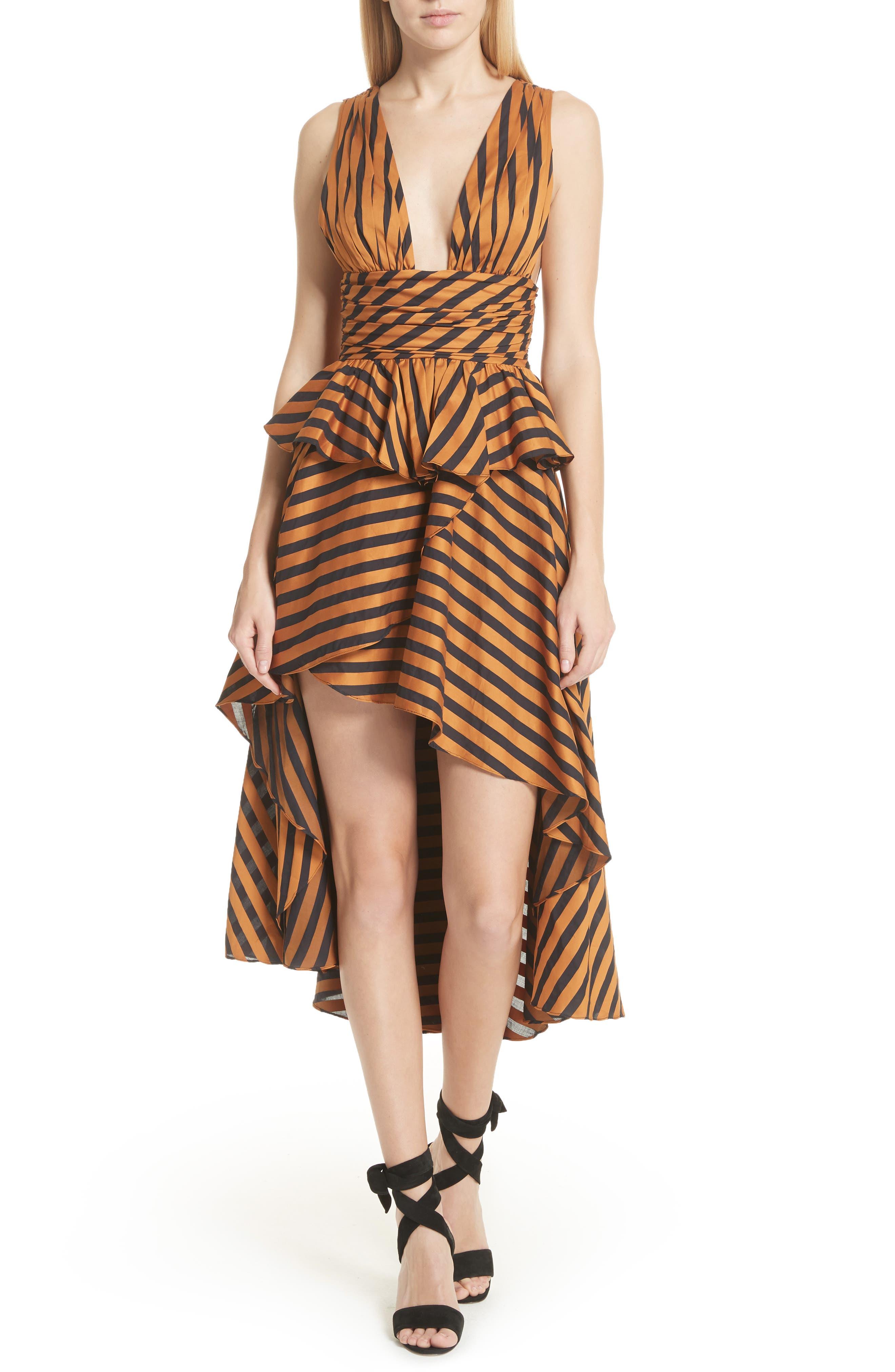 Adelle Ruffle High/Low Skirt,                             Alternate thumbnail 7, color,                             Bronze Black