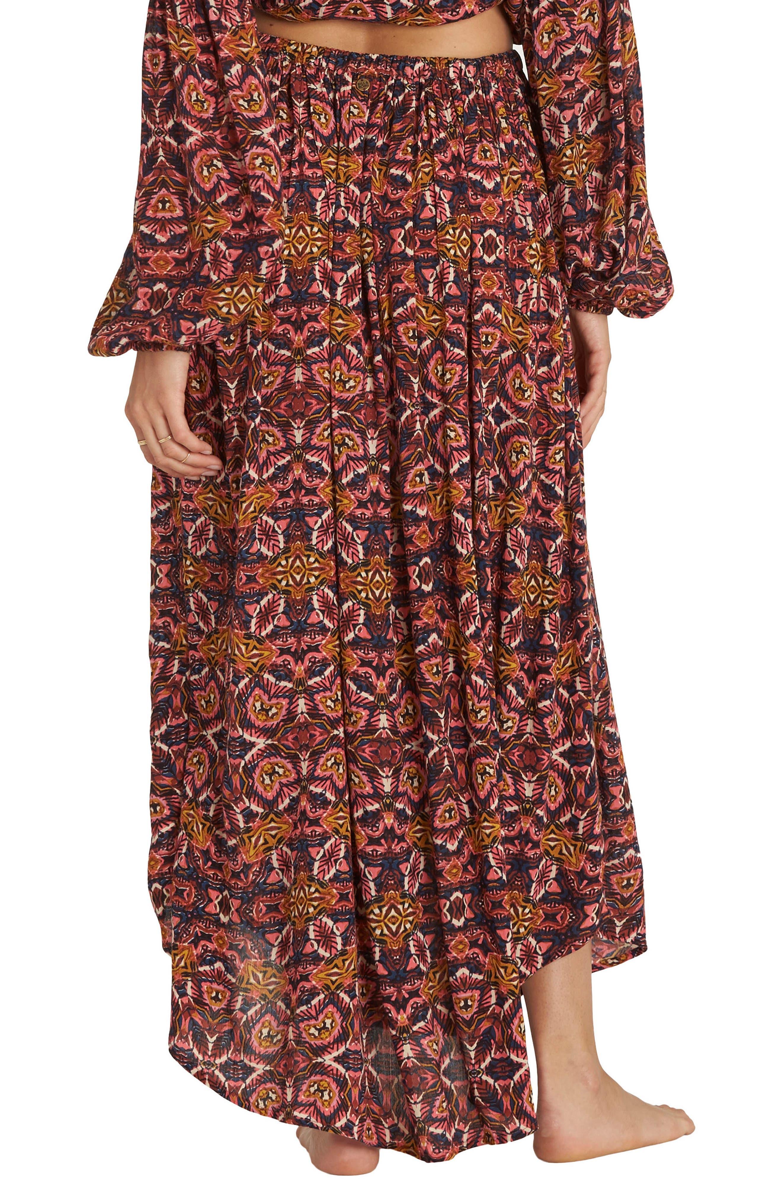 Sun Safari Asymmetrical Maxi Skirt,                             Alternate thumbnail 3, color,                             Multi