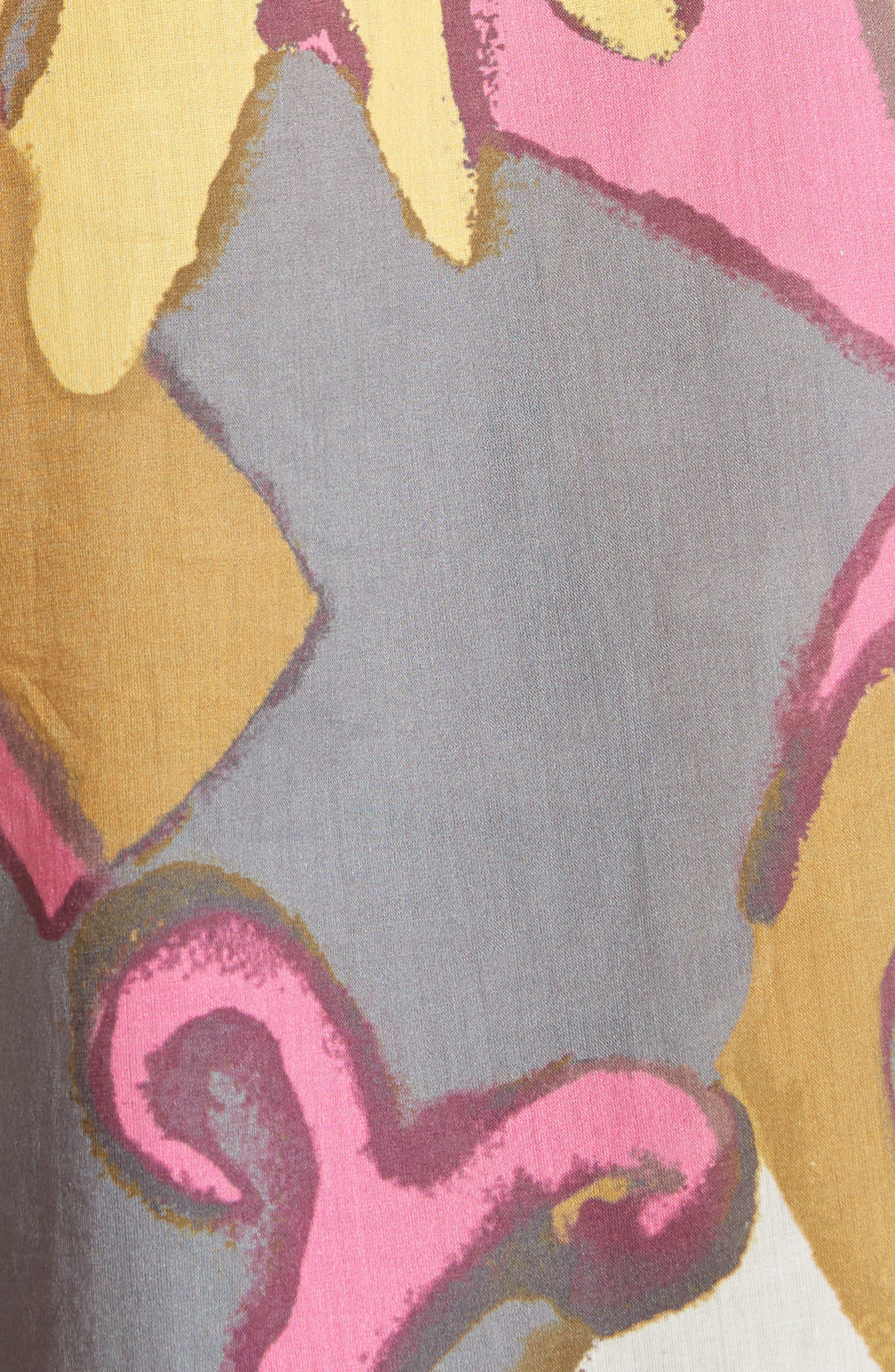 Tie Neck Retro Print Blouse,                             Alternate thumbnail 5, color,                             Grey Multi