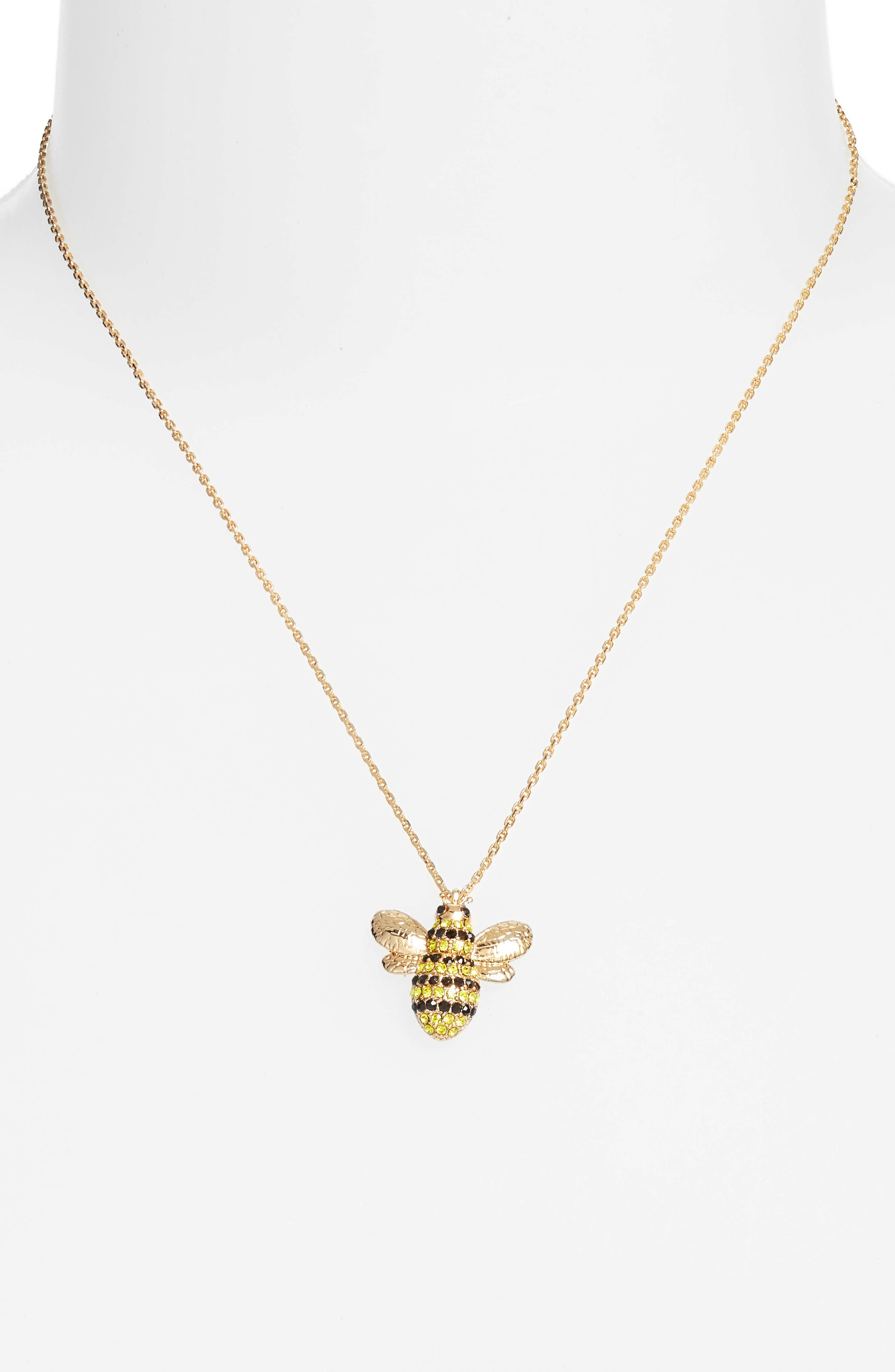 picnic perfect pavé bee necklace,                             Alternate thumbnail 2, color,                             Multi