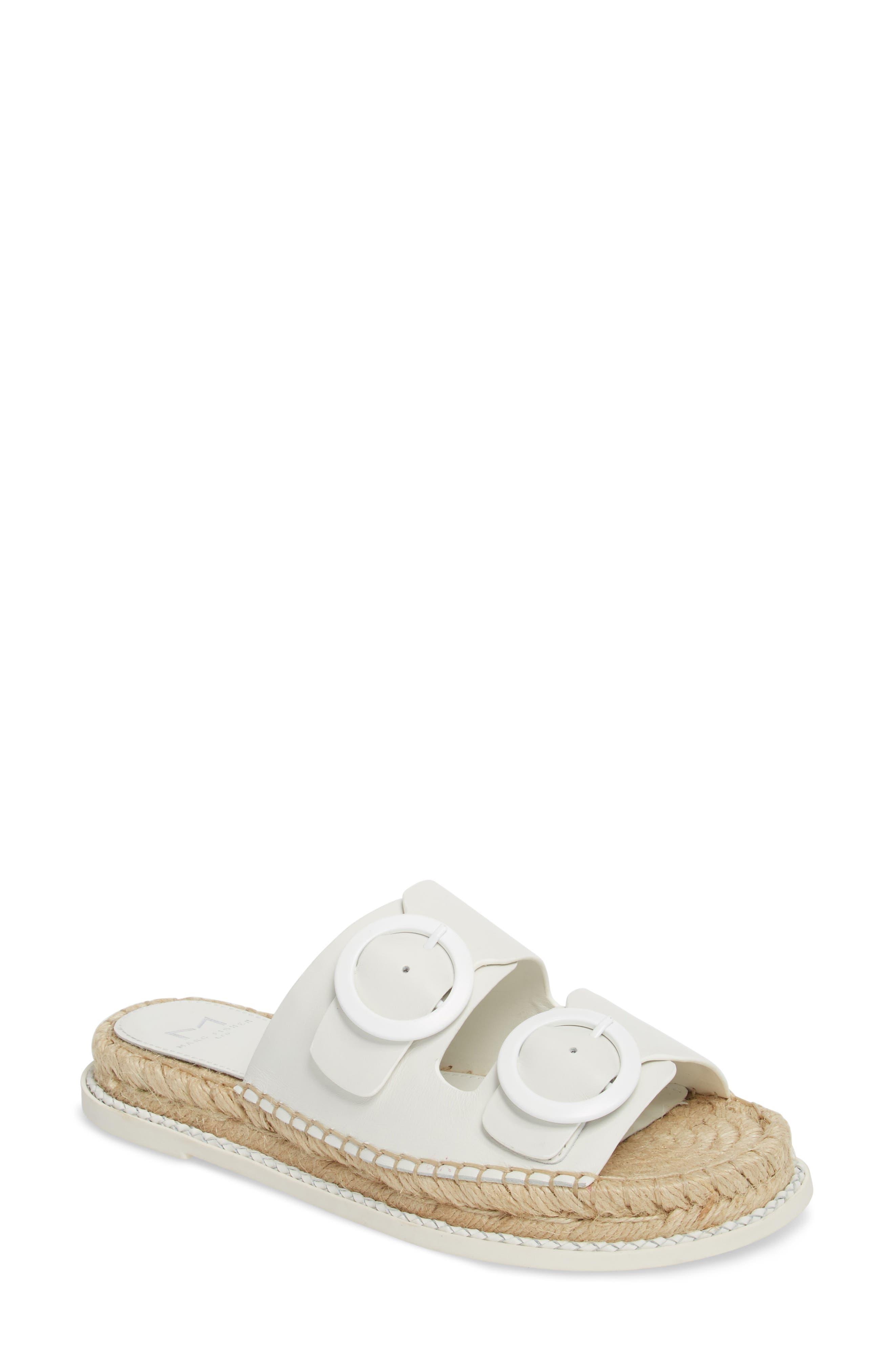 Ramba Espadrille Slide Sandal,                             Main thumbnail 1, color,                             White Leather