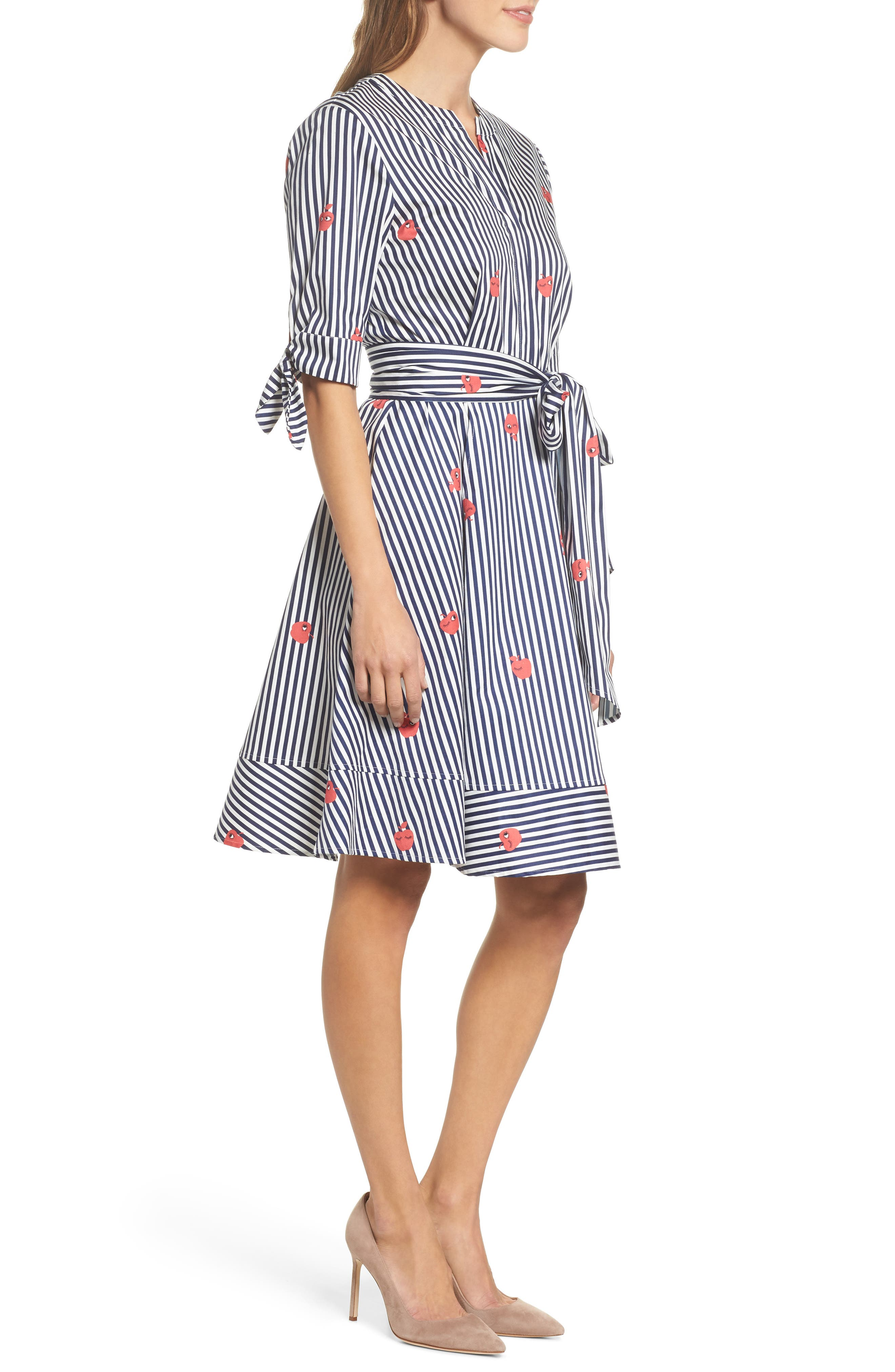 Bella Tie Front Fit & Flare Shirtdress,                             Alternate thumbnail 3, color,                             Navy/ White Stripe