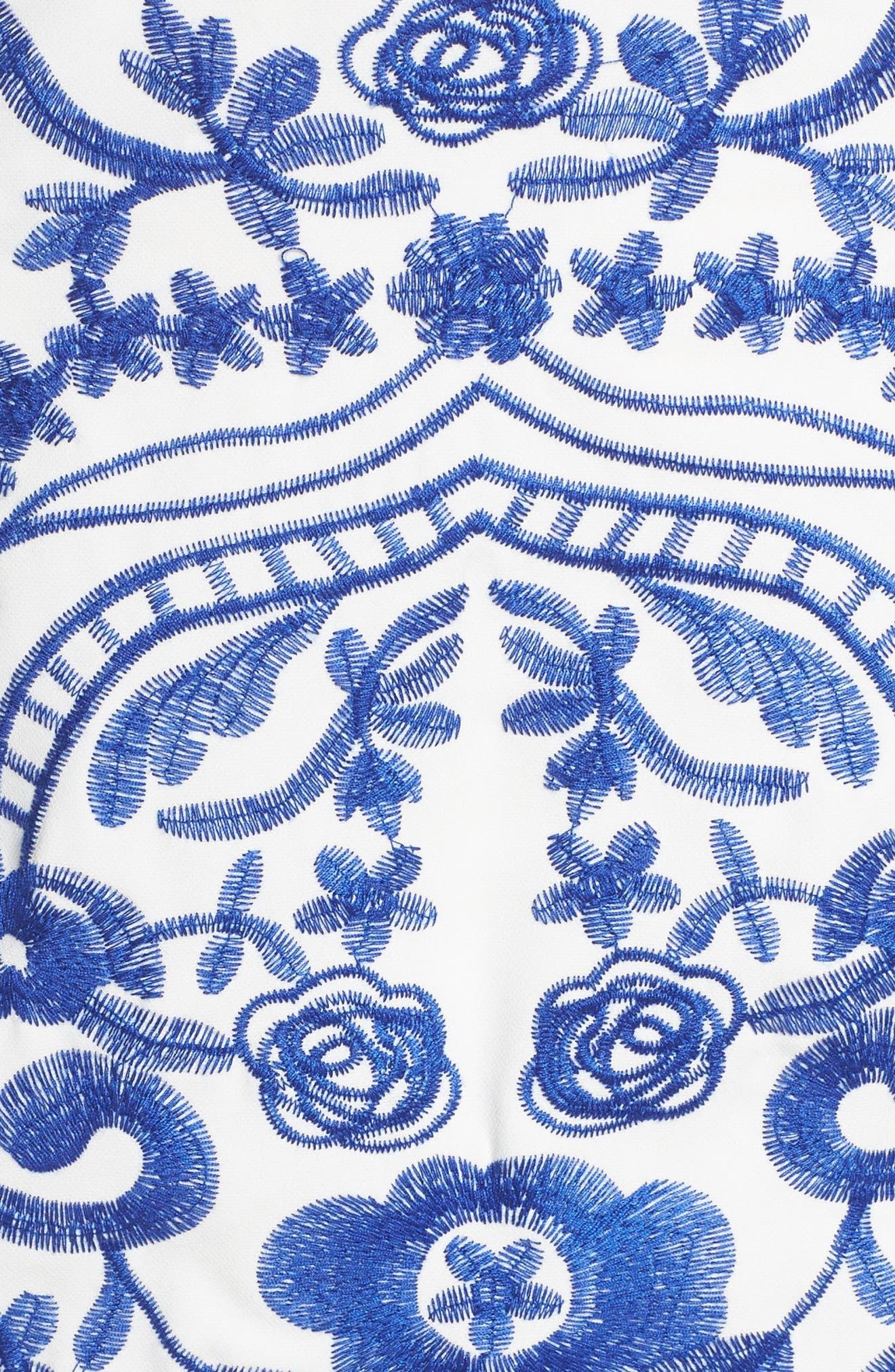 Betina Embroidered Off the Shoulder Dress,                             Alternate thumbnail 5, color,                             Cobalt