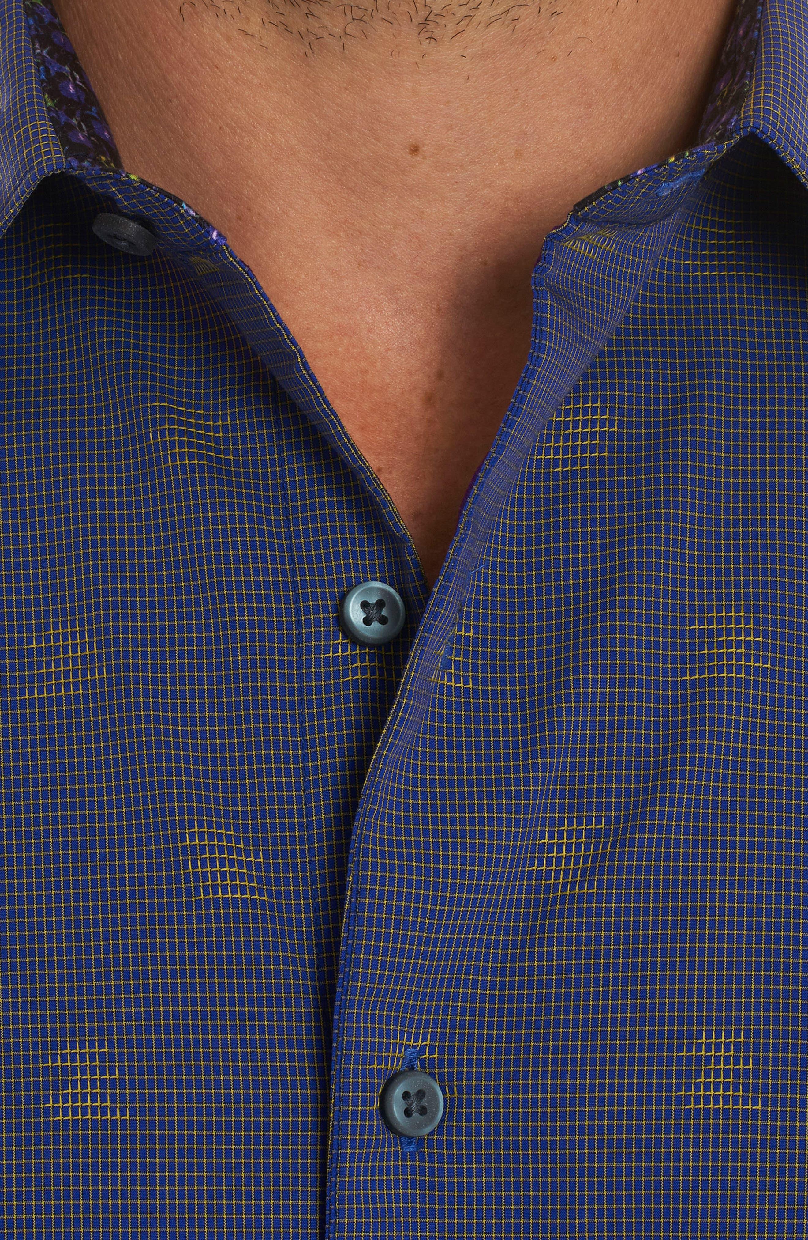 Vidin Regular Fit Jacquard Dot Sport Shirt,                             Alternate thumbnail 4, color,                             Blue