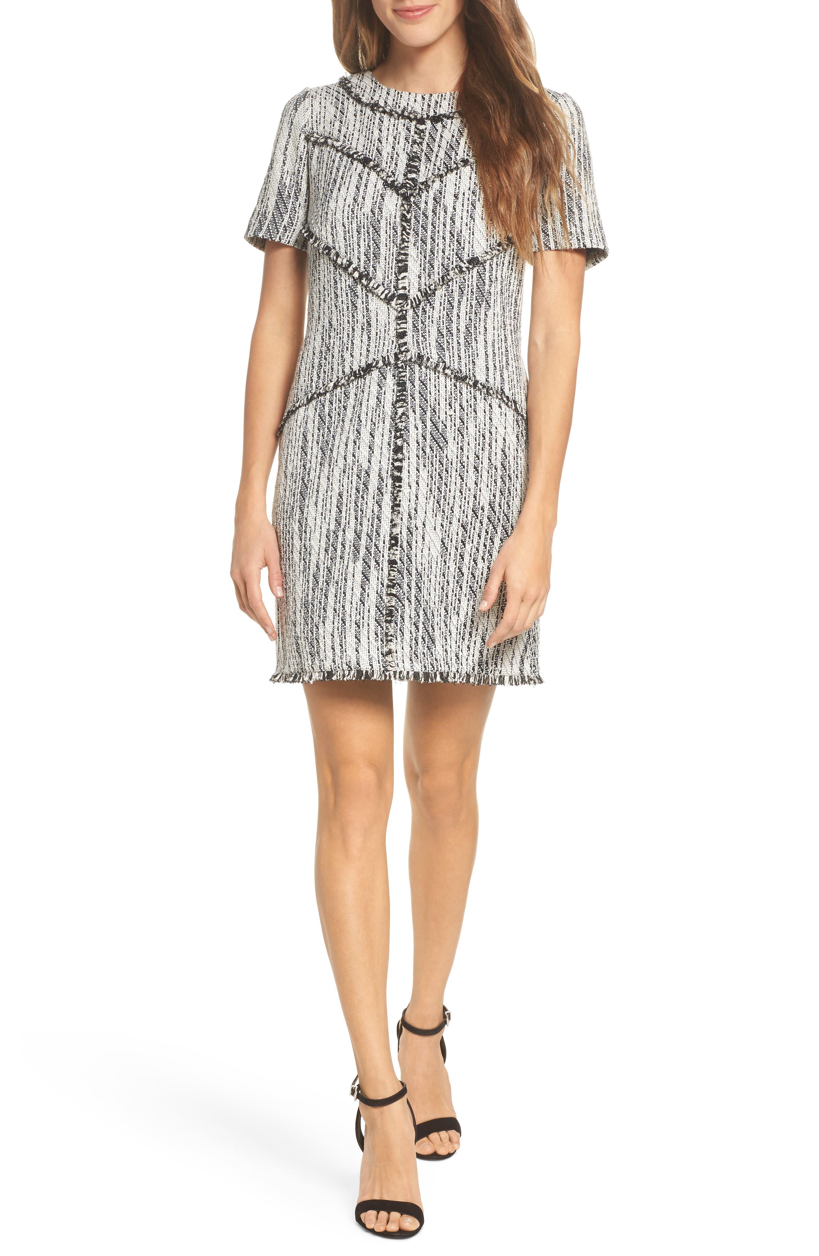 Dolce Vita Tweed Shift Dress,                             Main thumbnail 1, color,                             Black/ Ivory Tweed