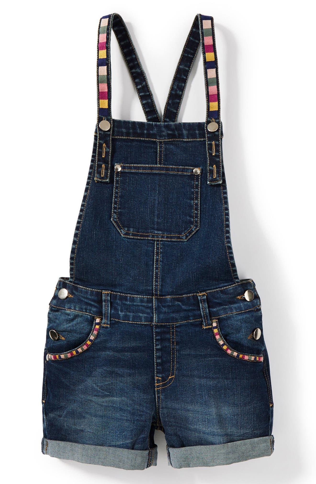 Embroidered Short Overalls,                         Main,                         color, Indigo
