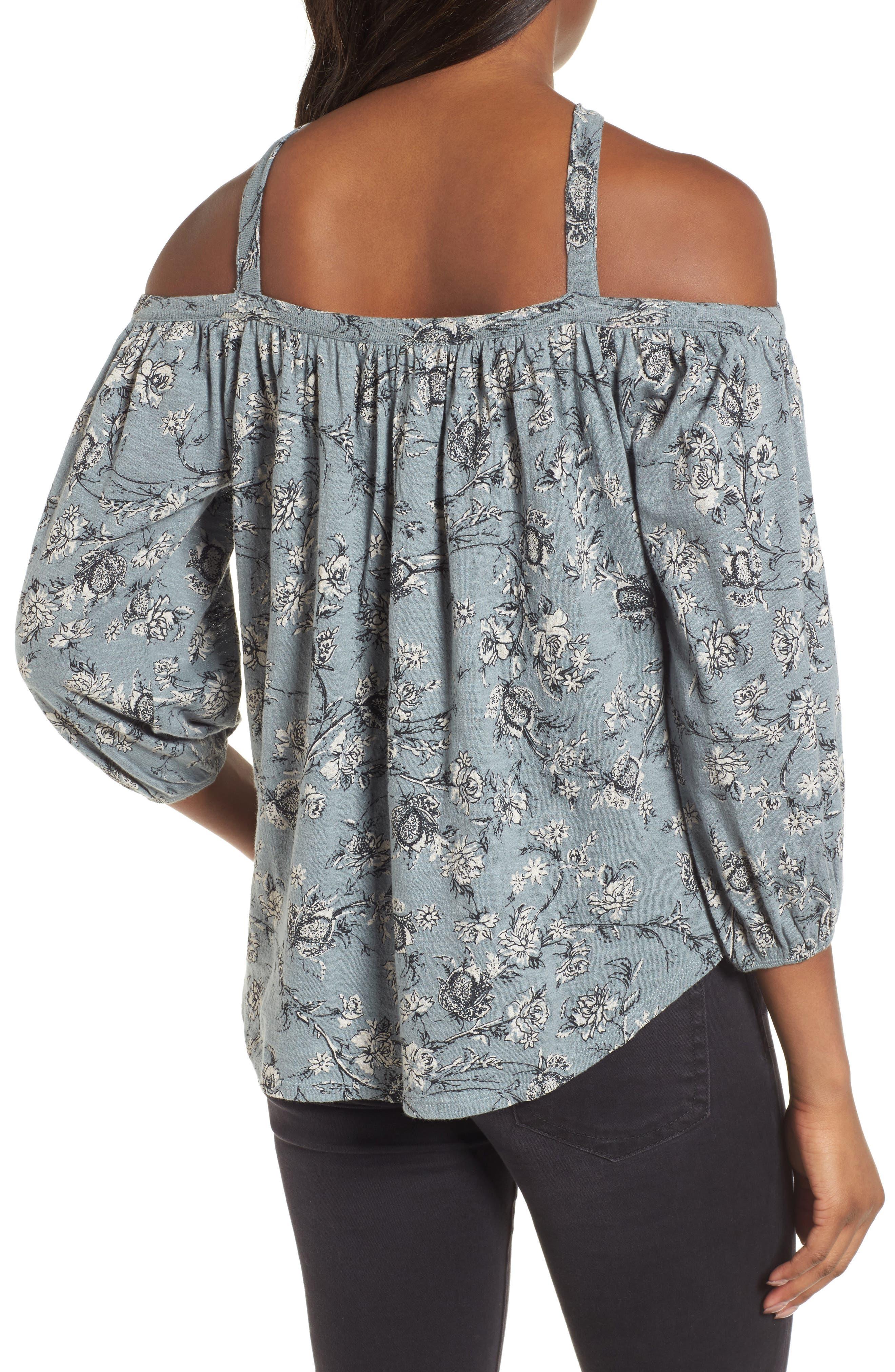 Floral Cold Shoulder Blouse,                             Alternate thumbnail 2, color,                             Blue Multi