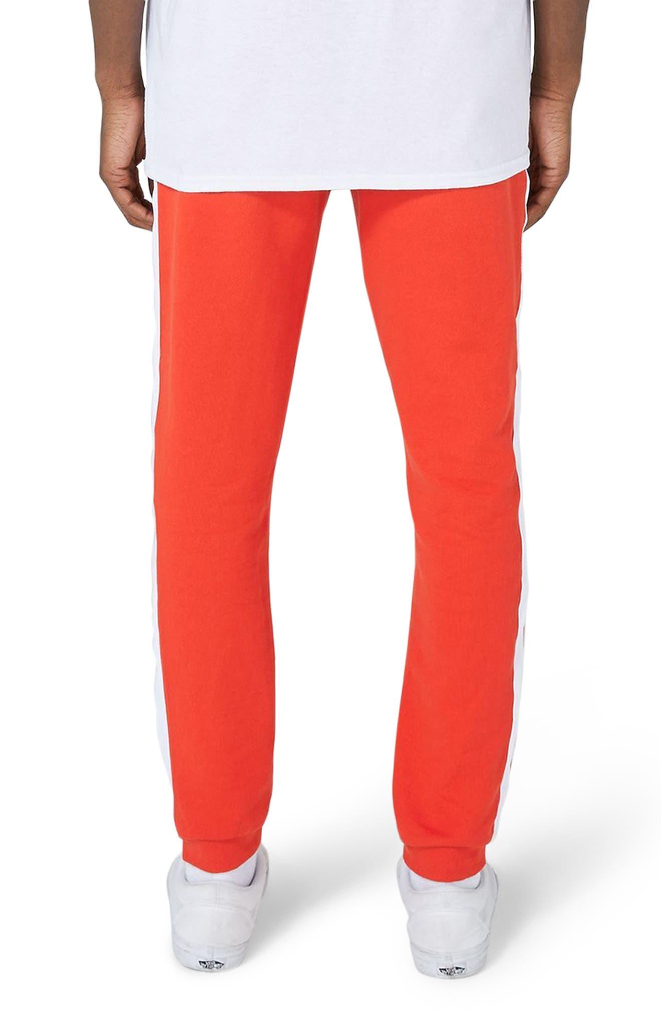 Side Tape Skinny Fit Jogger Pants,                             Alternate thumbnail 2, color,                             Red Multi