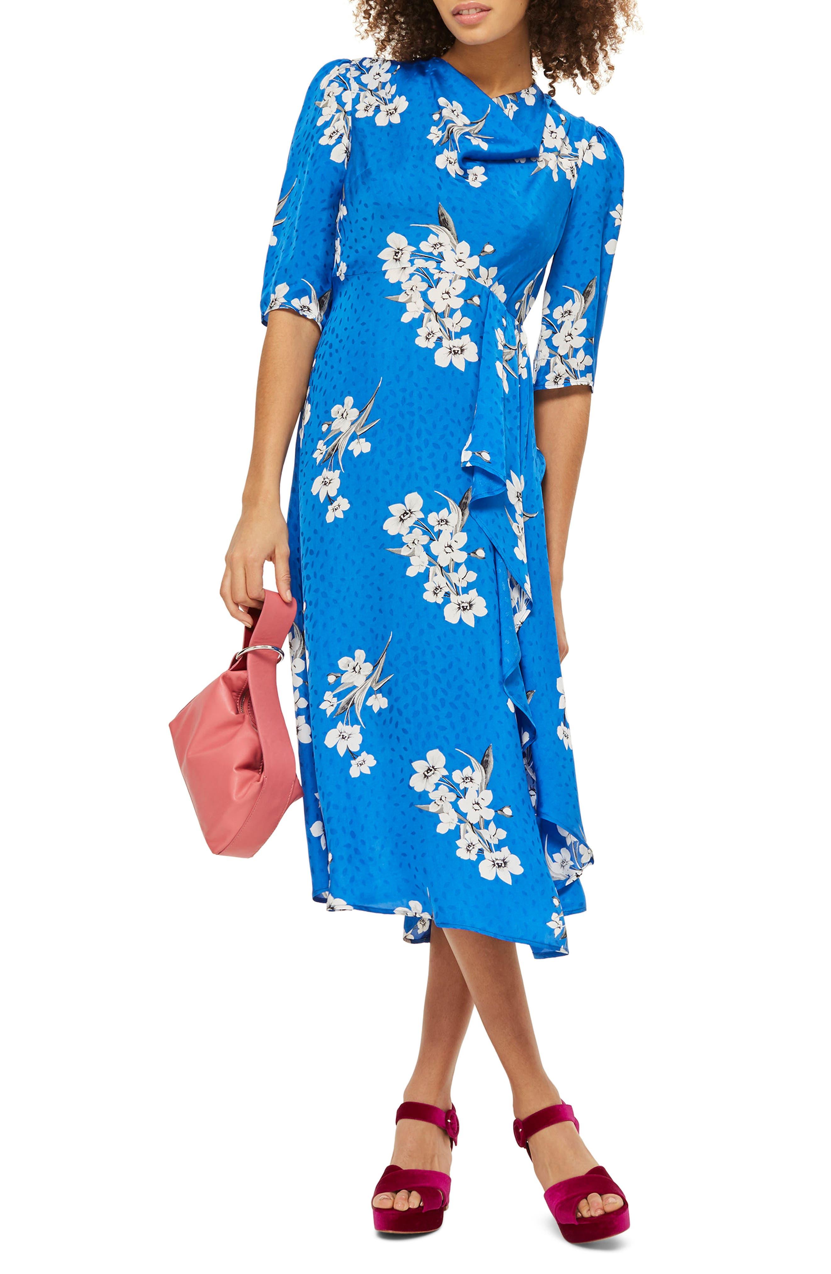Floral Print Midi Dress,                             Main thumbnail 1, color,                             Cobalt Multi