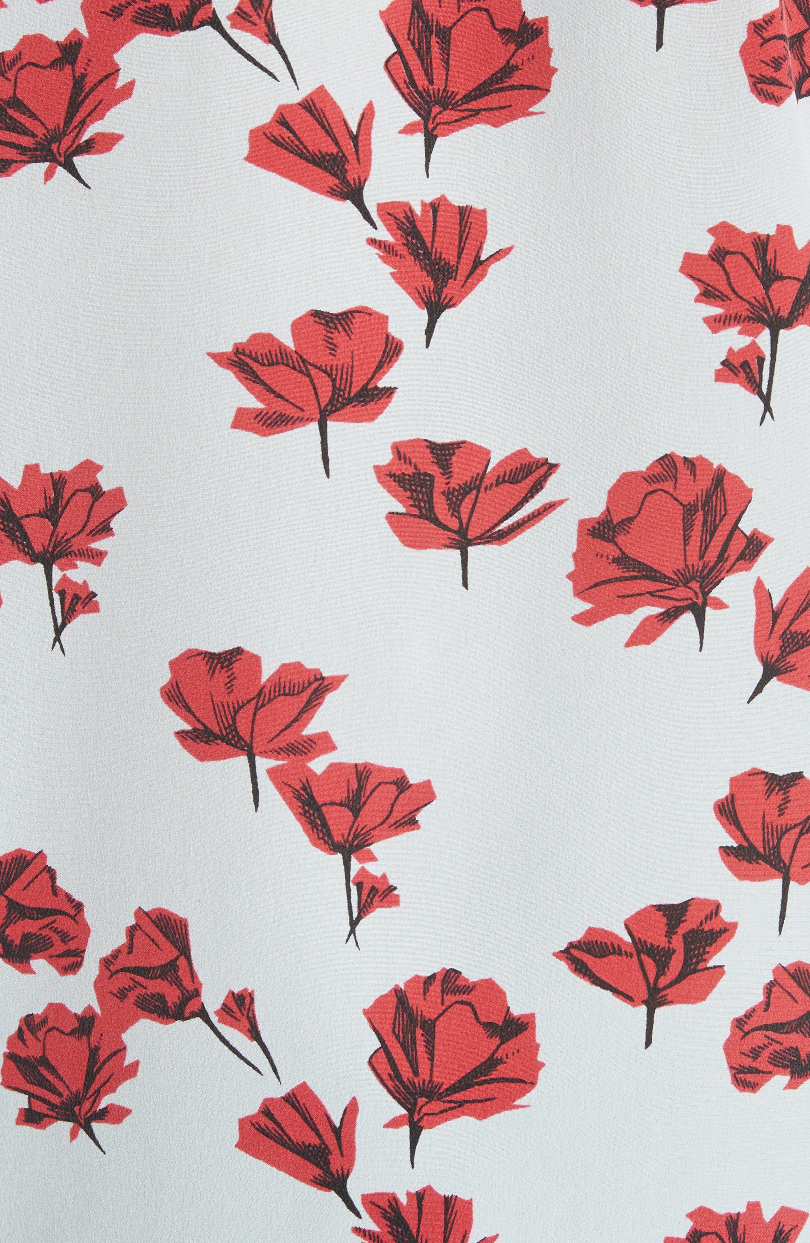 Leema Floral Silk Shirt,                             Alternate thumbnail 5, color,                             Cool Breeze