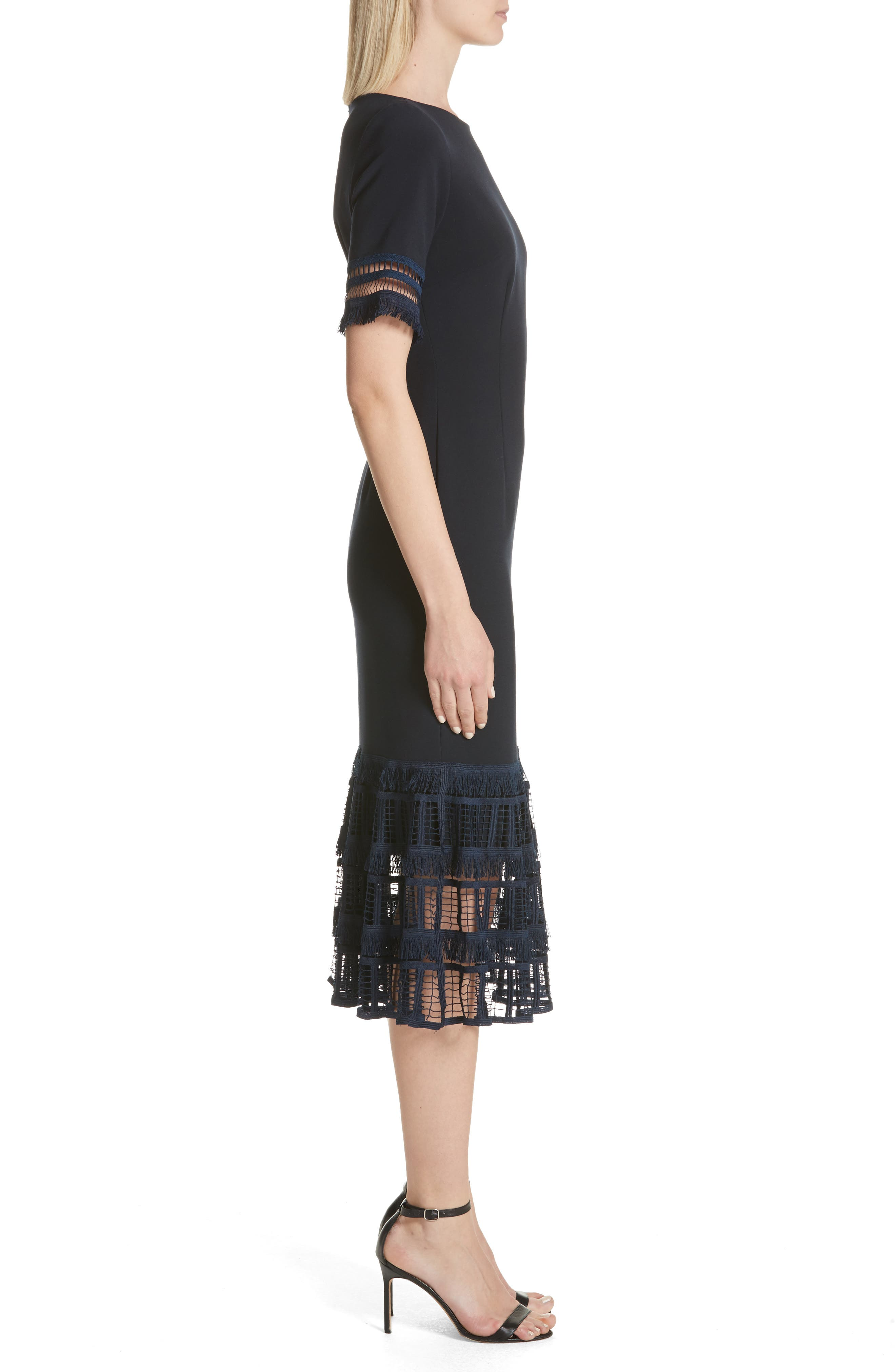 Fringe Flare Hem Sheath Dress,                             Alternate thumbnail 3, color,                             Navy