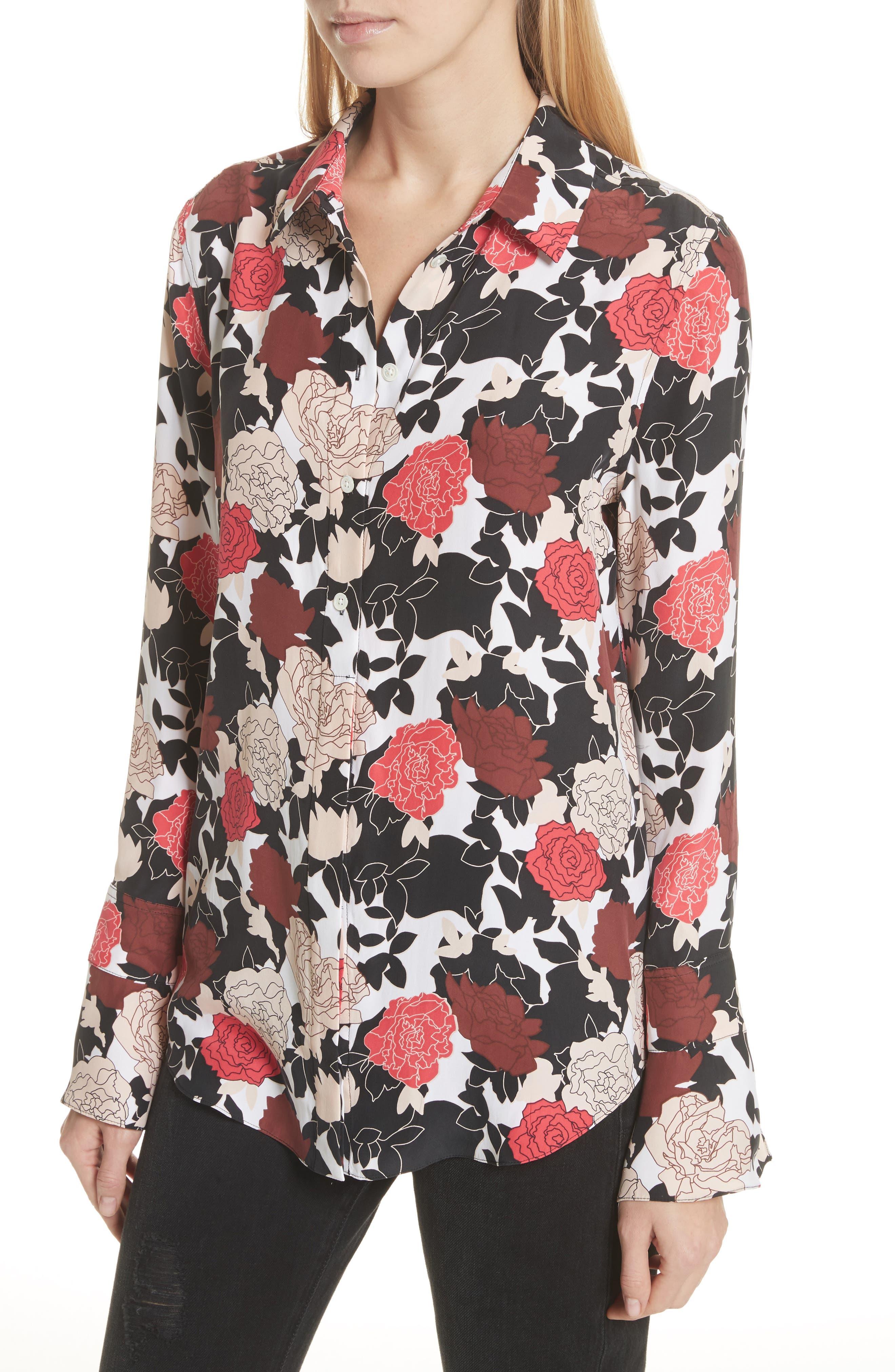Daphne Floral Silk Shirt,                             Alternate thumbnail 4, color,                             Bright White Multi